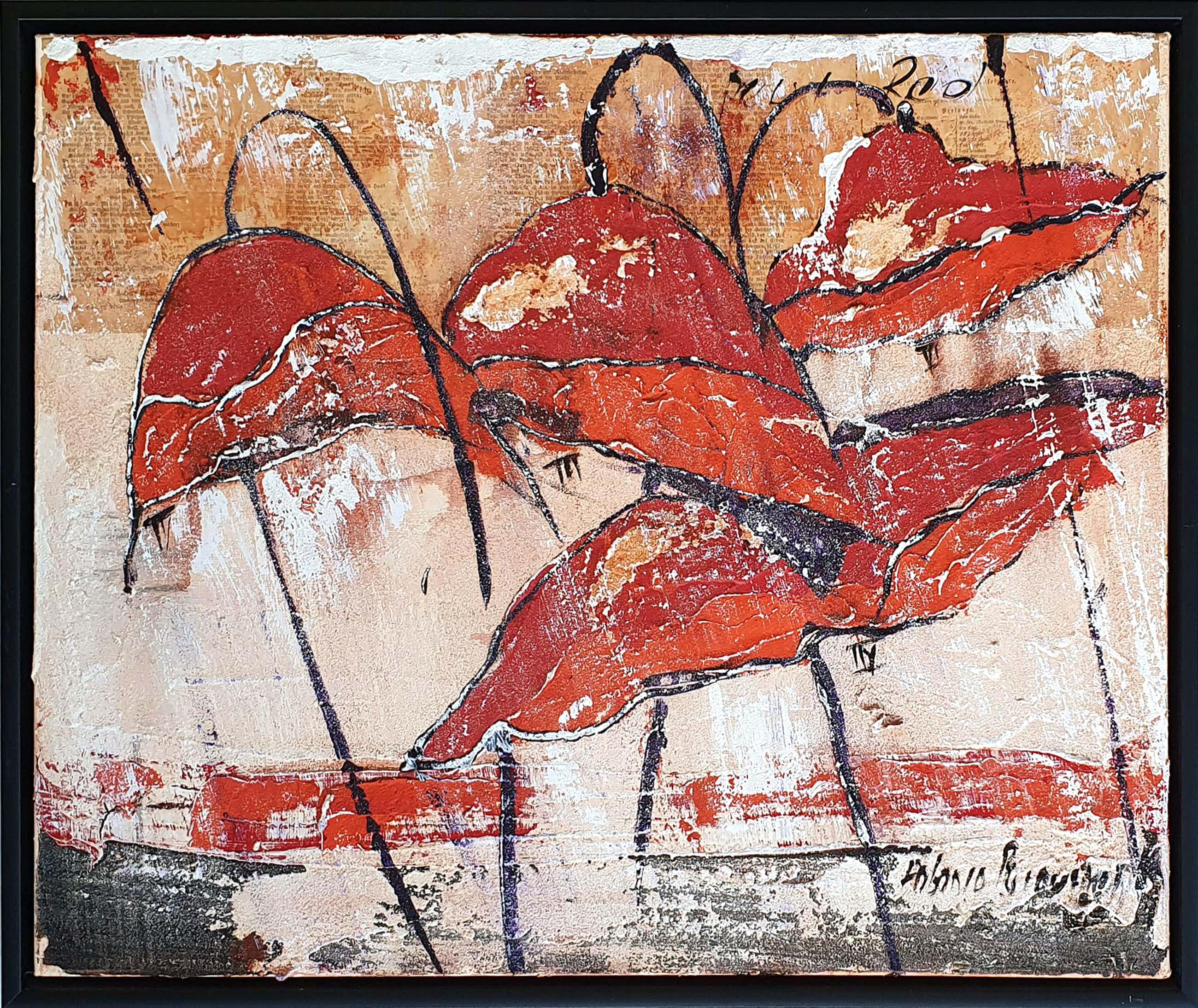 """Antonio Poioumen - """"Pure Red"""" Gemengde techniek op doek - Ingelijst kopen? Bied vanaf 180!"""
