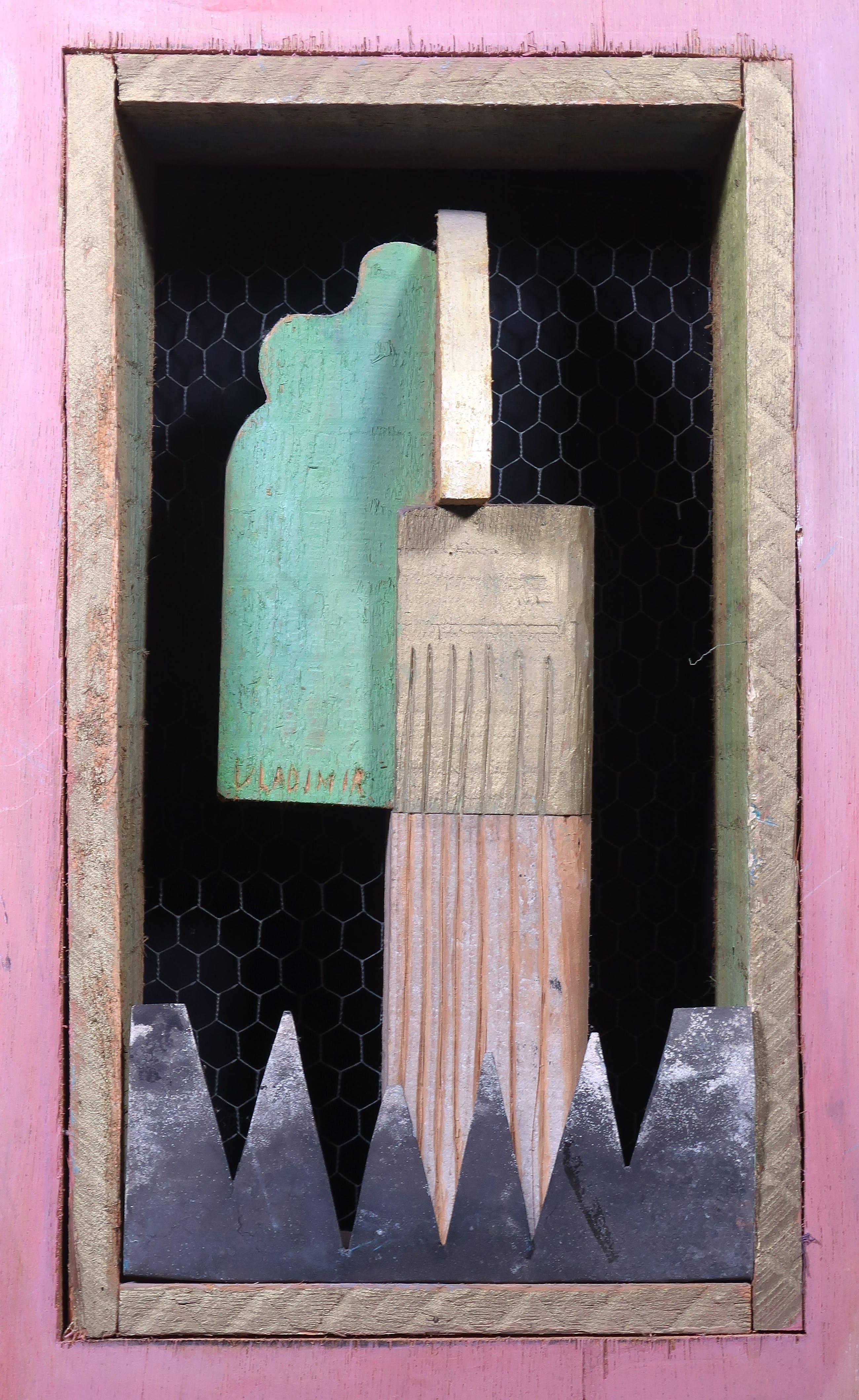 Vladimir Katic - Object van beschilderd hout en metaal, Monument voor een voorbijganger kopen? Bied vanaf 60!