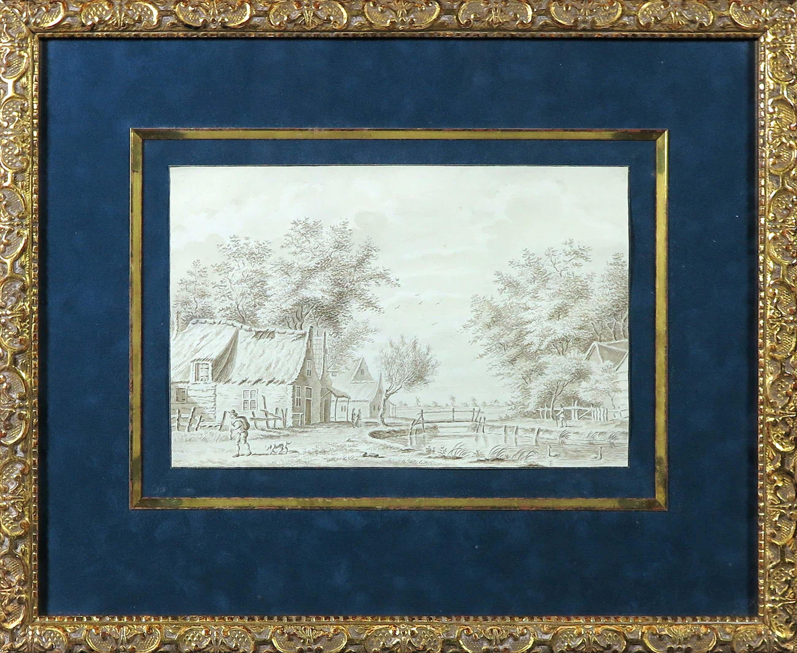 Jan van Lockhorst - Aquarel op papier, Vijverzicht - Ingelijst kopen? Bied vanaf 150!