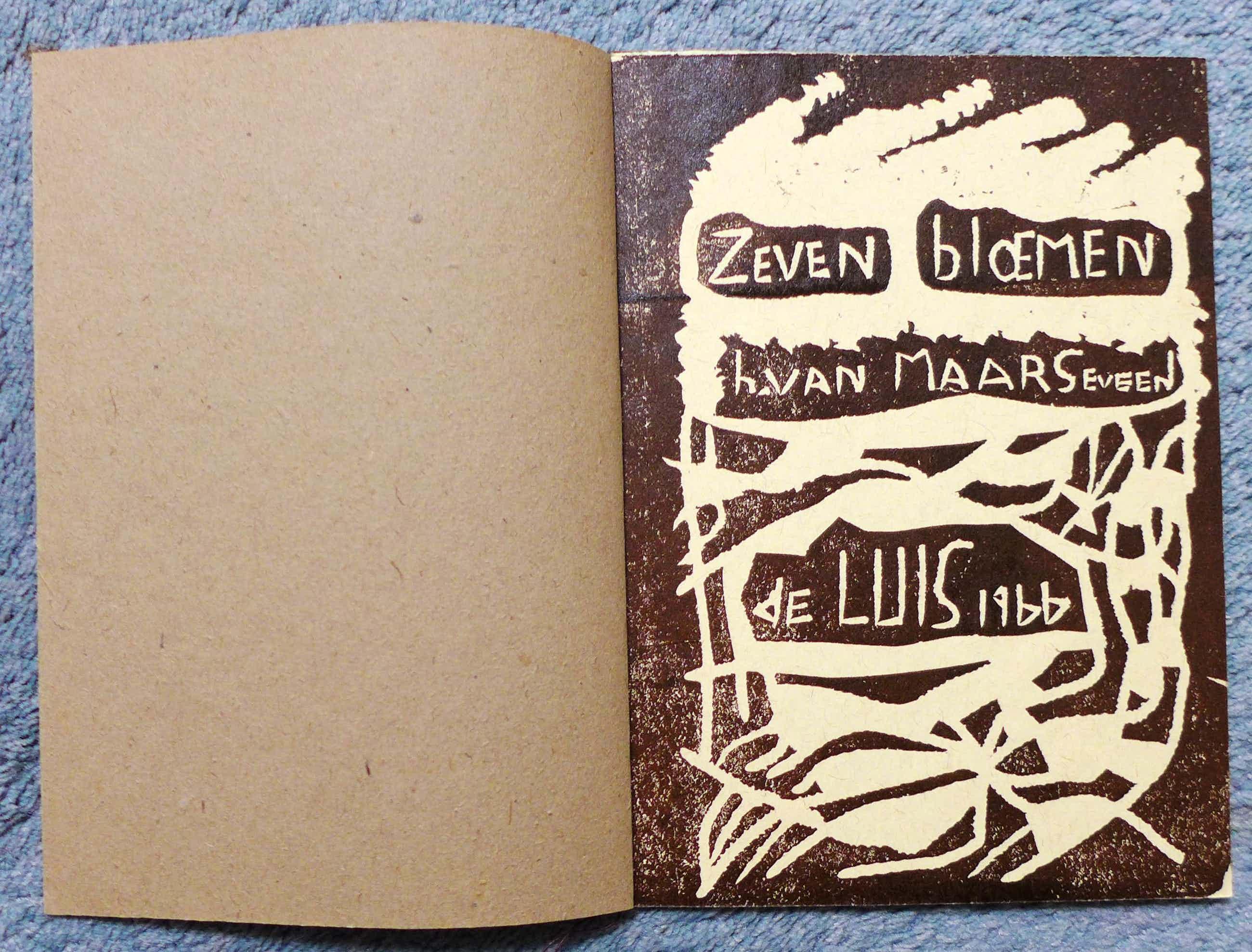 """Henc van Maarseveen - 7 bloemen linosnede uitgave """"de Luis"""" kopen? Bied vanaf 75!"""