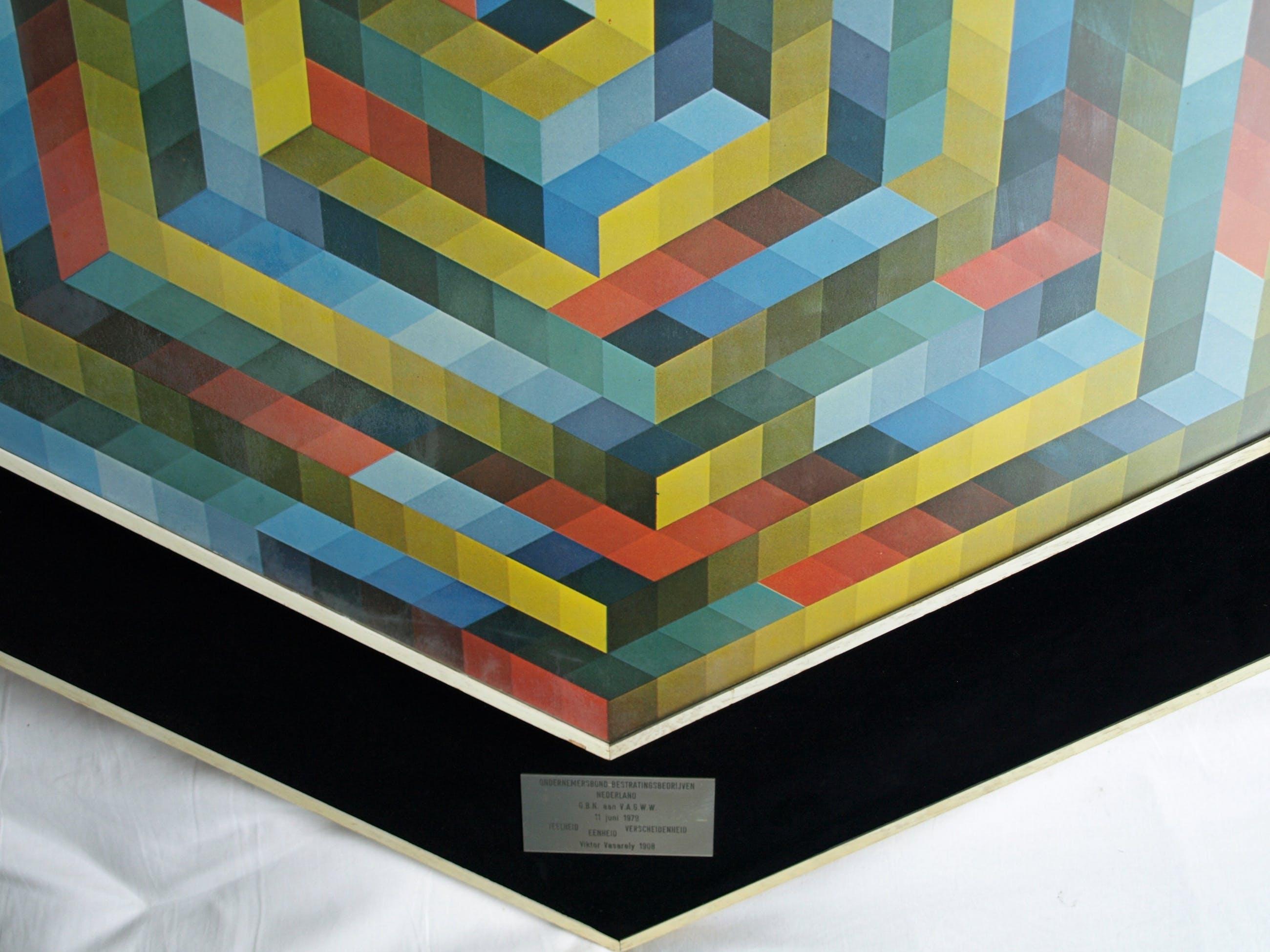 (Naar) Victor Vasarely : Herdenkingsmaquette 1979  ,  Samenwerking OBN en VAGWW kopen? Bied vanaf 75!