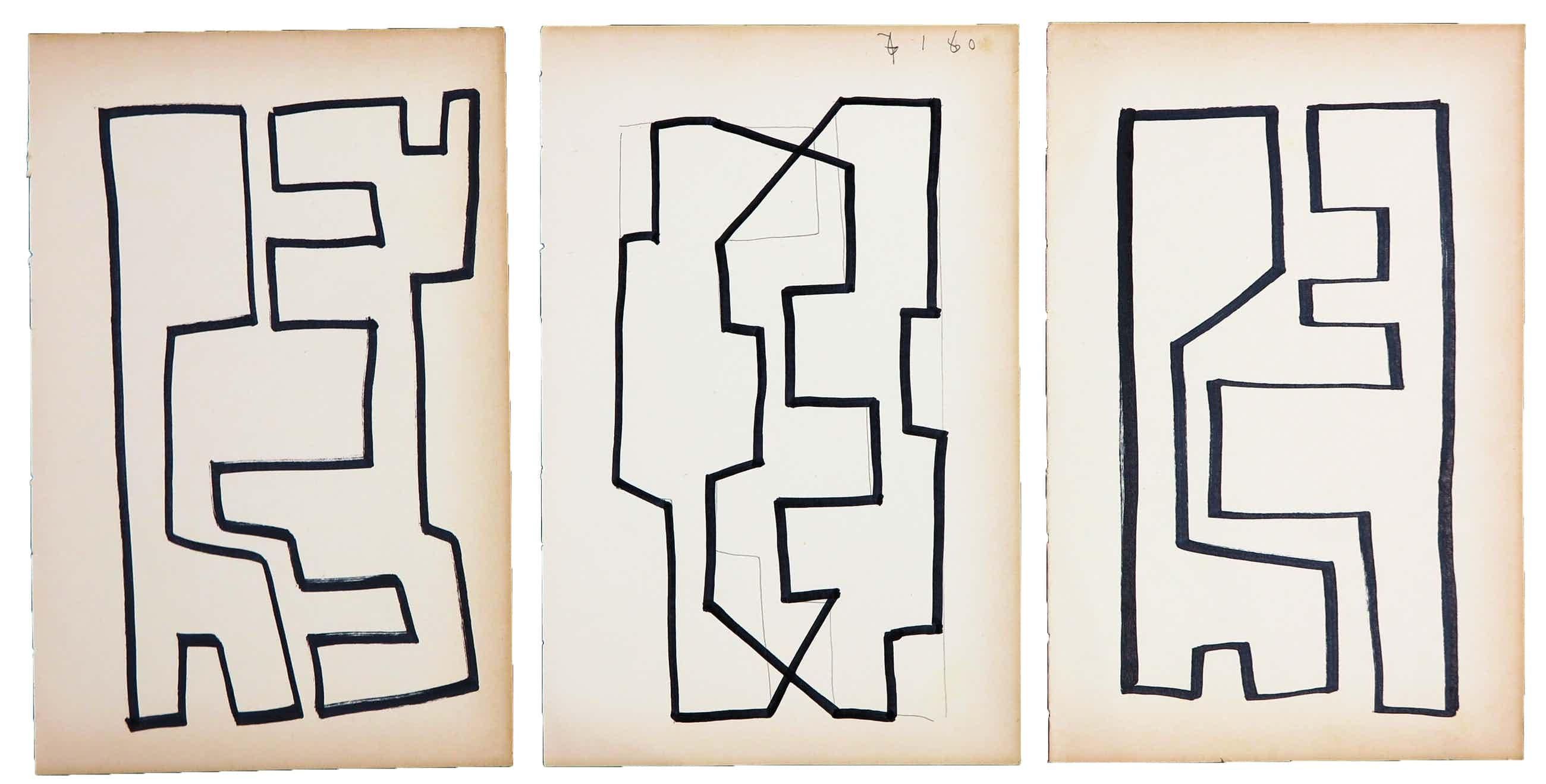 Siep van den Berg - Lot van drie abstracte composities kopen? Bied vanaf 35!