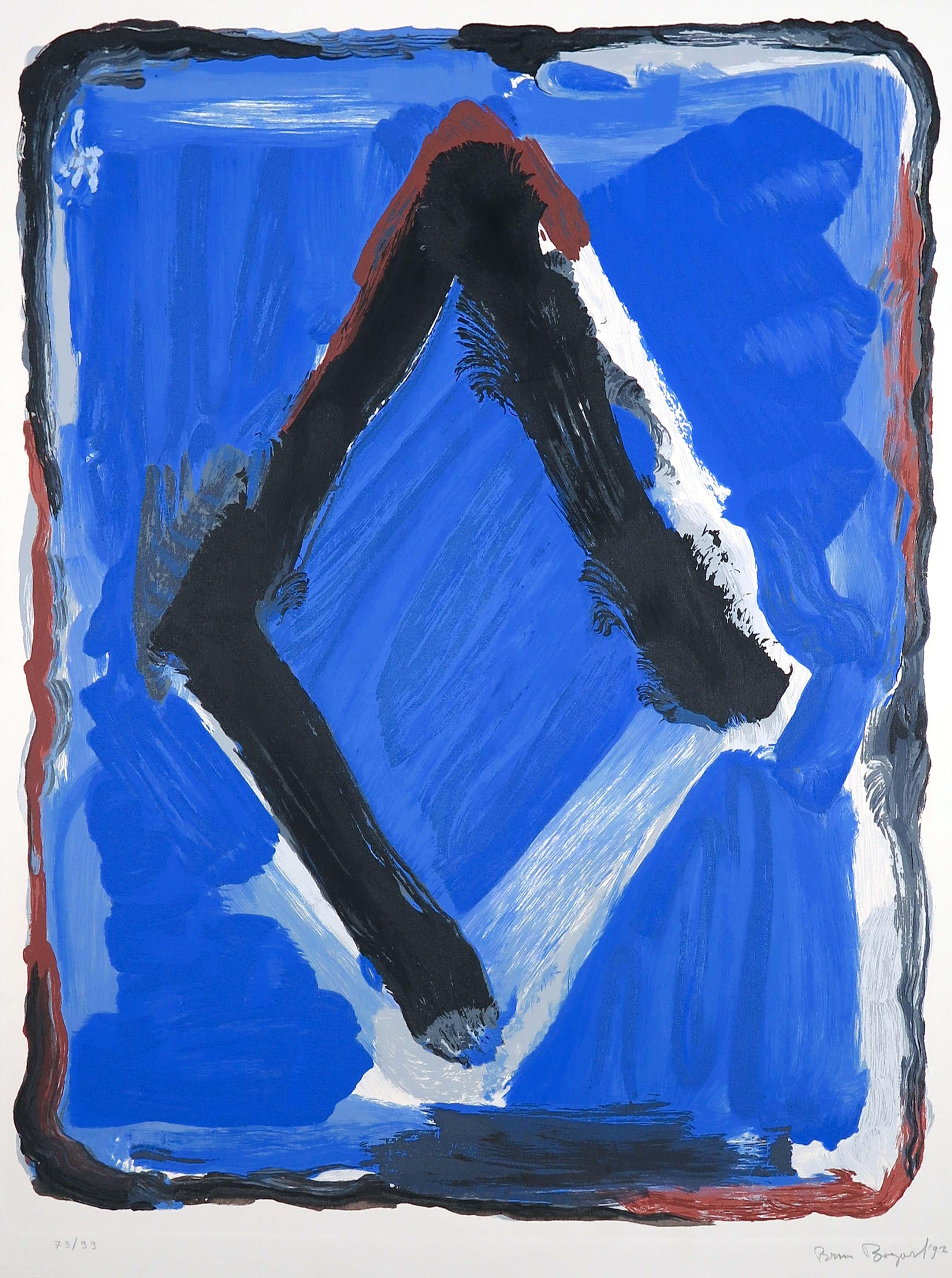 Bram Bogart - Litho en materiedruk, Abstracte compositie kopen? Bied vanaf 750!