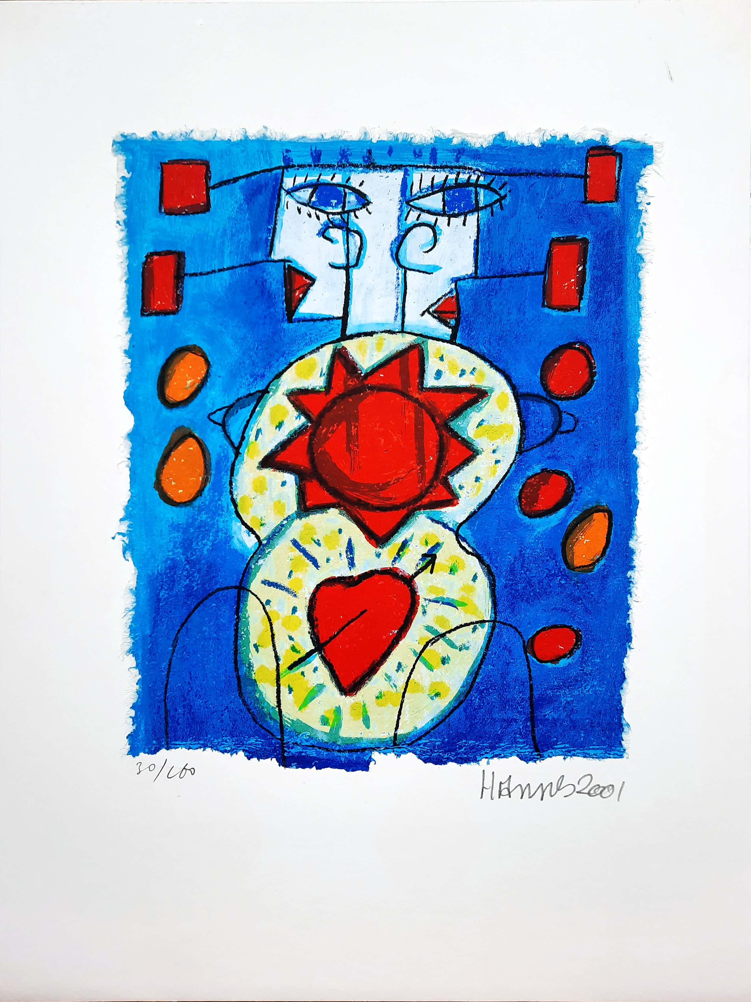 Hannes Kuiper - Geen titel - vrolijke en kleurrijke zeefdruk 30/160 - 21968 kopen? Bied vanaf 50!
