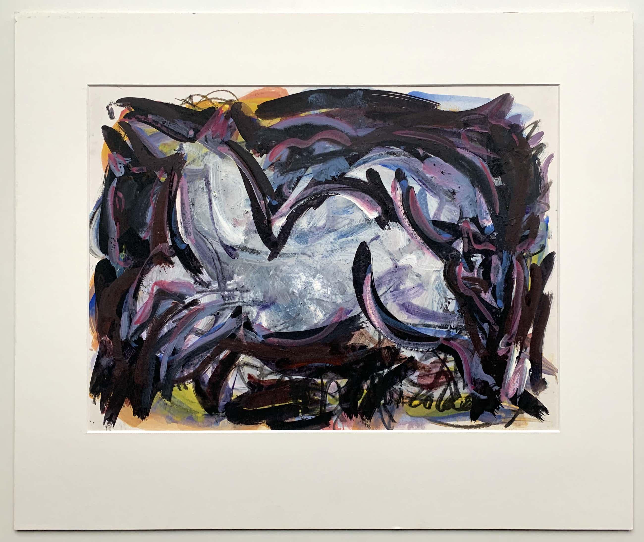 Margarita Nicolaas - gemengde techniek op papier   'Twee paarden'   1992 kopen? Bied vanaf 120!