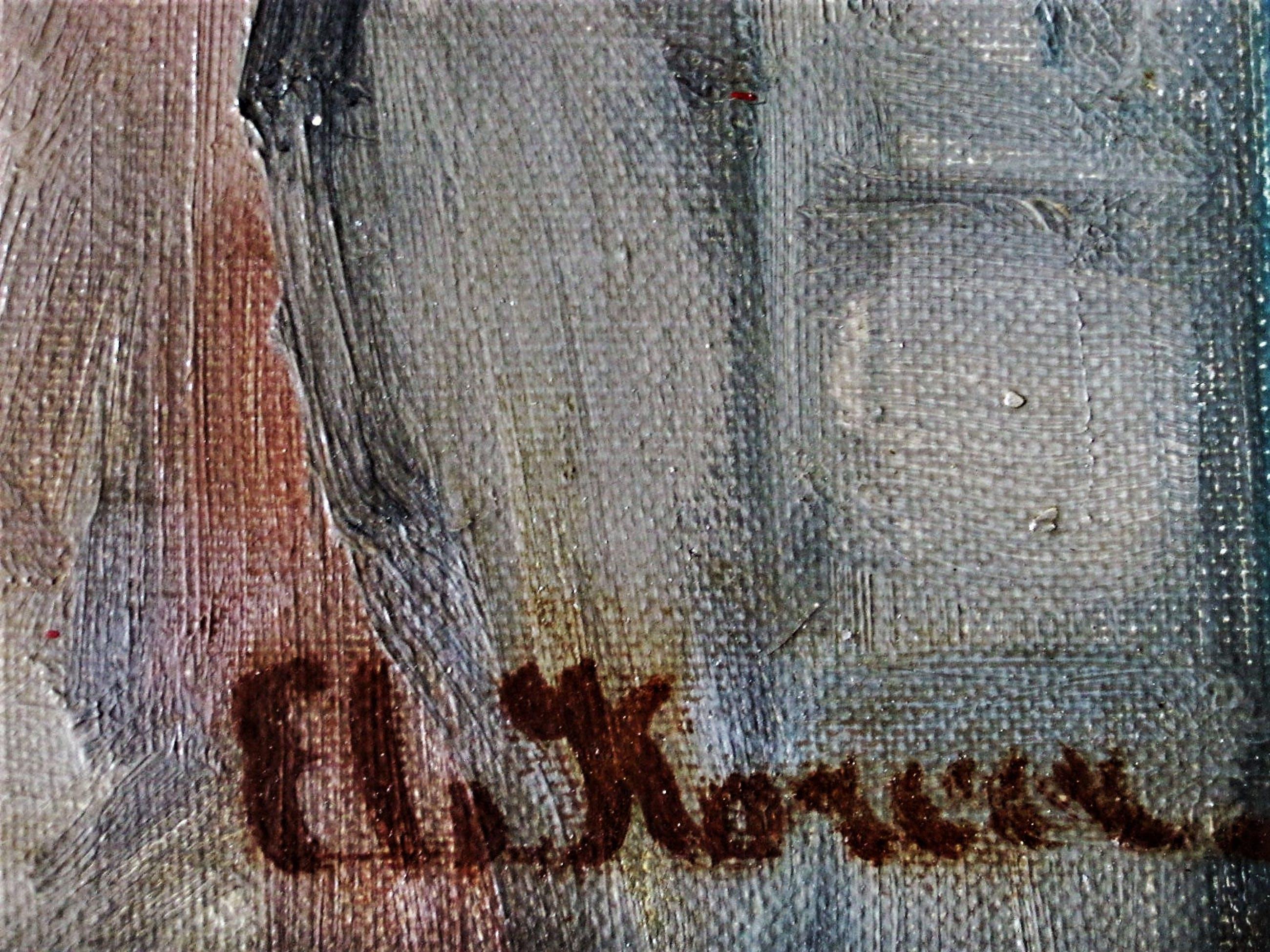 """Els Korver - (Soerabaja Indonesie 1935) Bijzonder olieverf """"Broer en Zus"""" gesigneerd kopen? Bied vanaf 30!"""