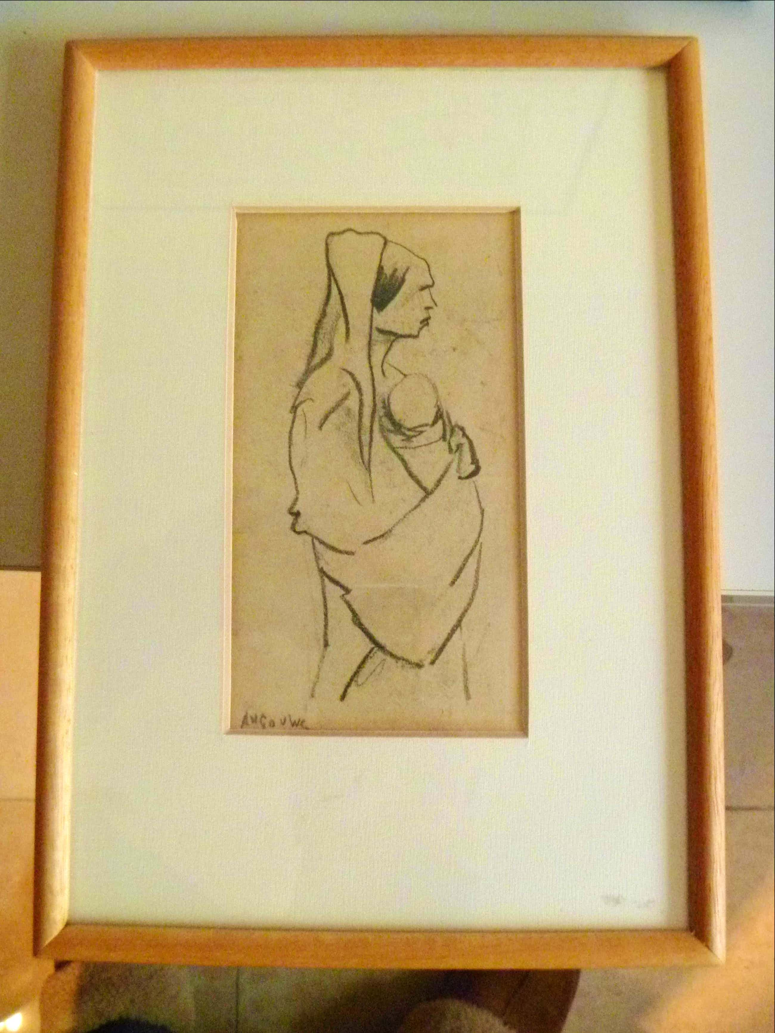 Herman Gouwe - maternite : originele tekening van moeder met baby kopen? Bied vanaf 170!