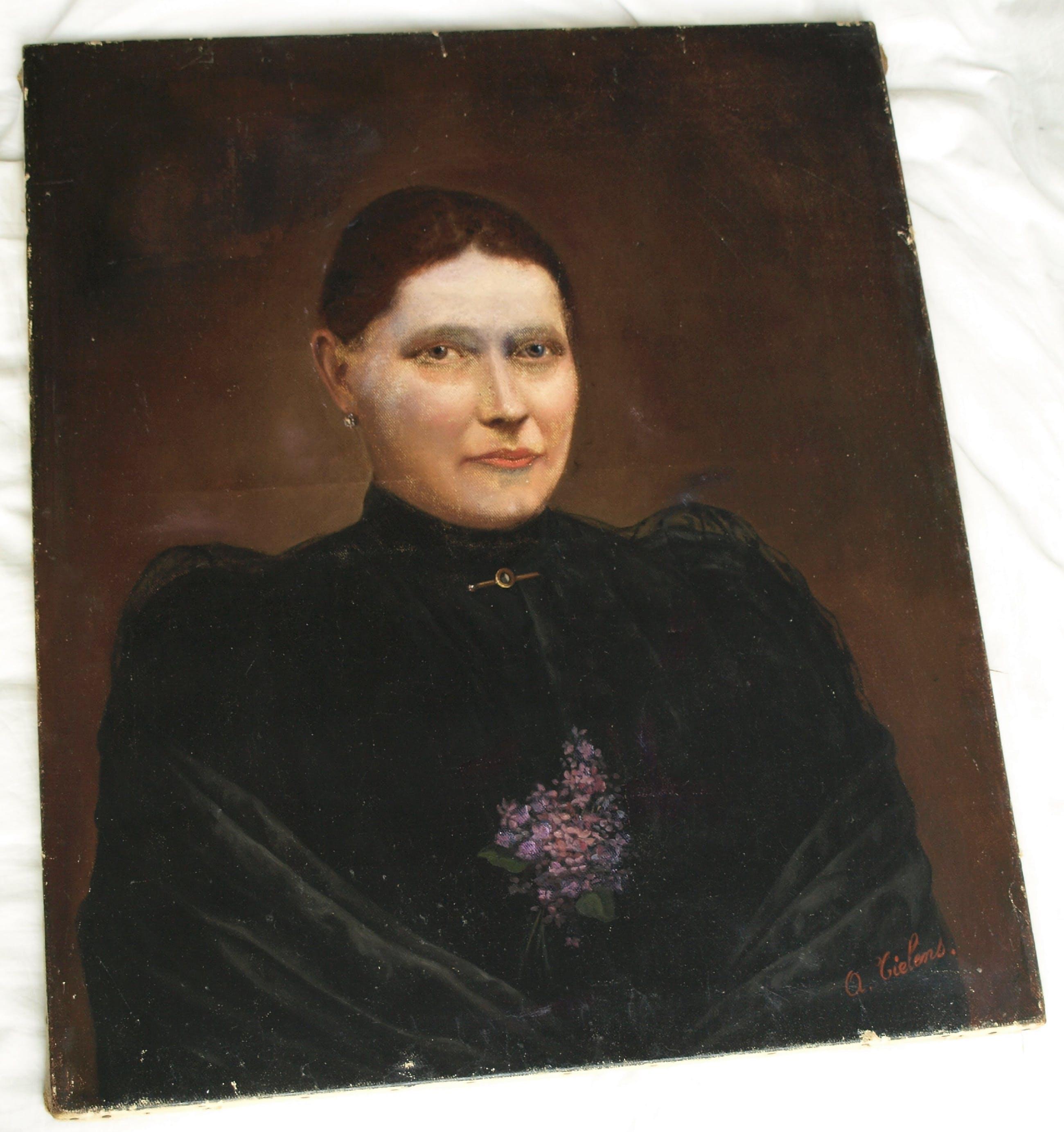 """Niet of onleesbaar gesigneerd - Olieverf op doek, """"Portret vrouw"""" – gesigneerd – oud – 65 x 54 cm. kopen? Bied vanaf 1!"""