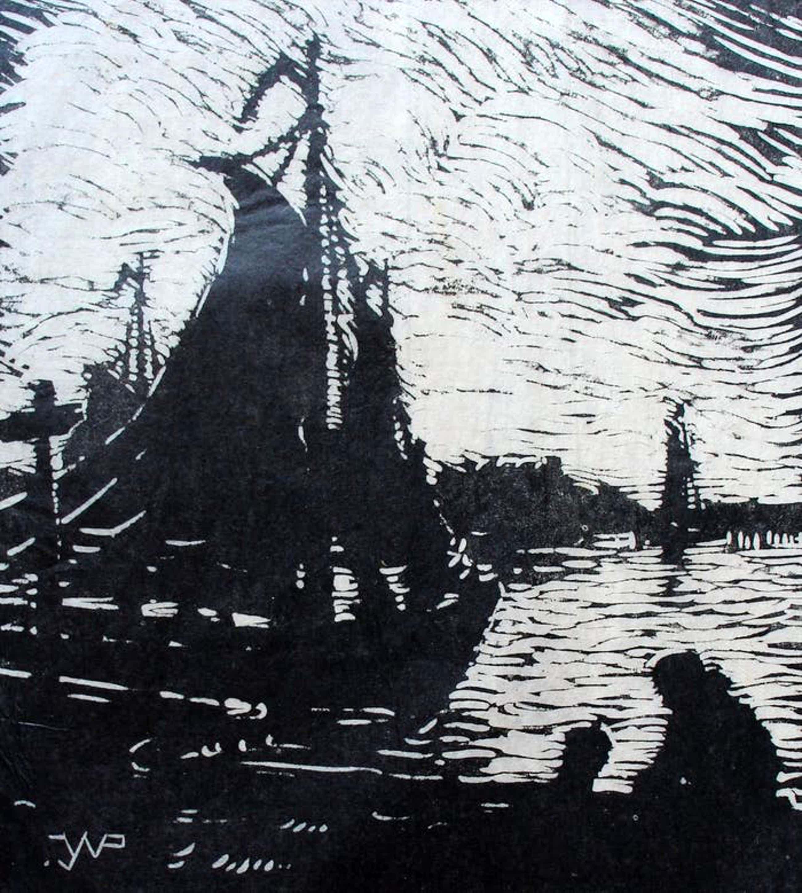 Joseph van de Wall Perne - Houtsnede: Haven van Volendam kopen? Bied vanaf 35!