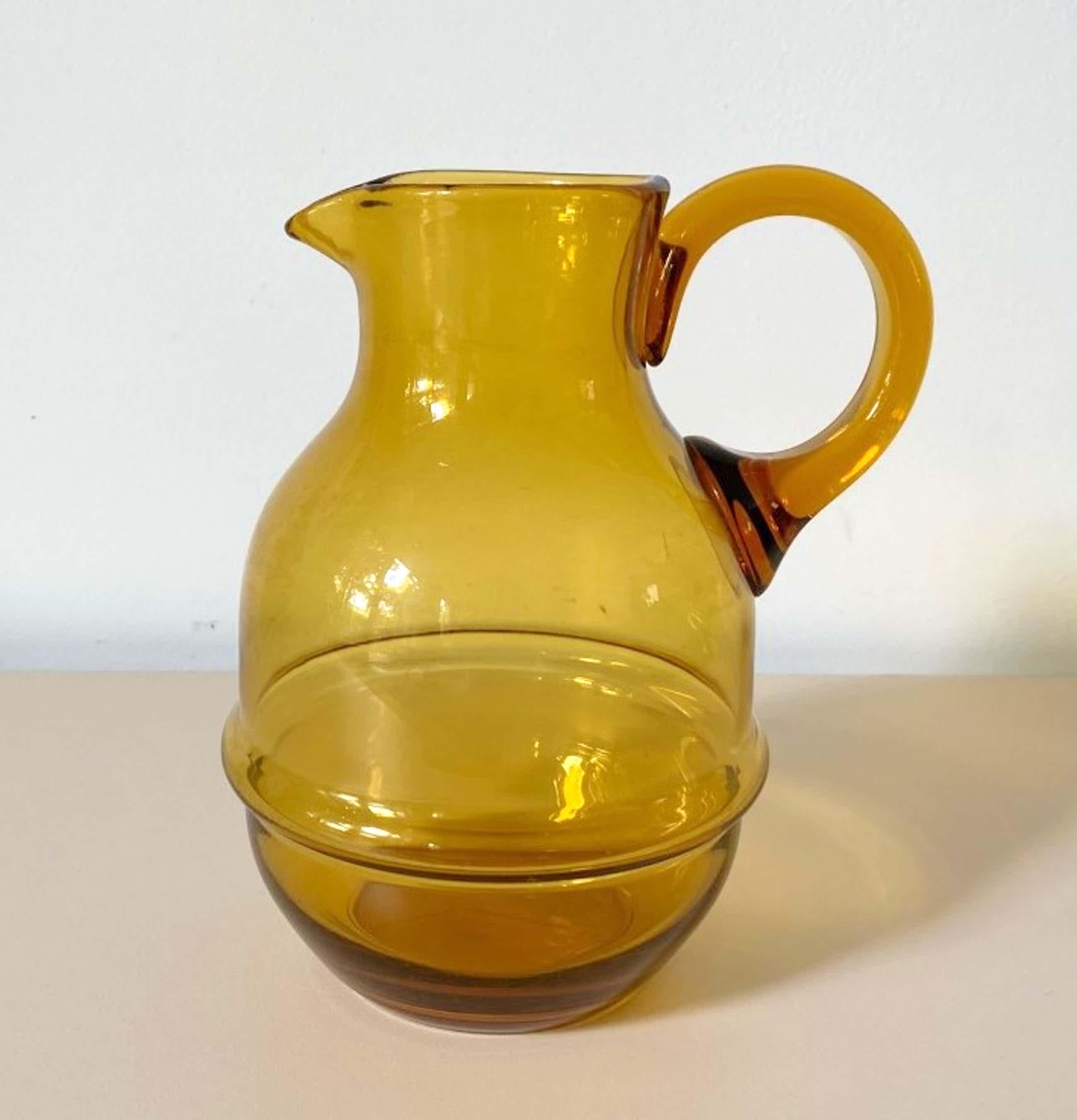 Kristalunie Maastricht - Art deco amber kleurige glazen waterkan uit 1929 kopen? Bied vanaf 5!