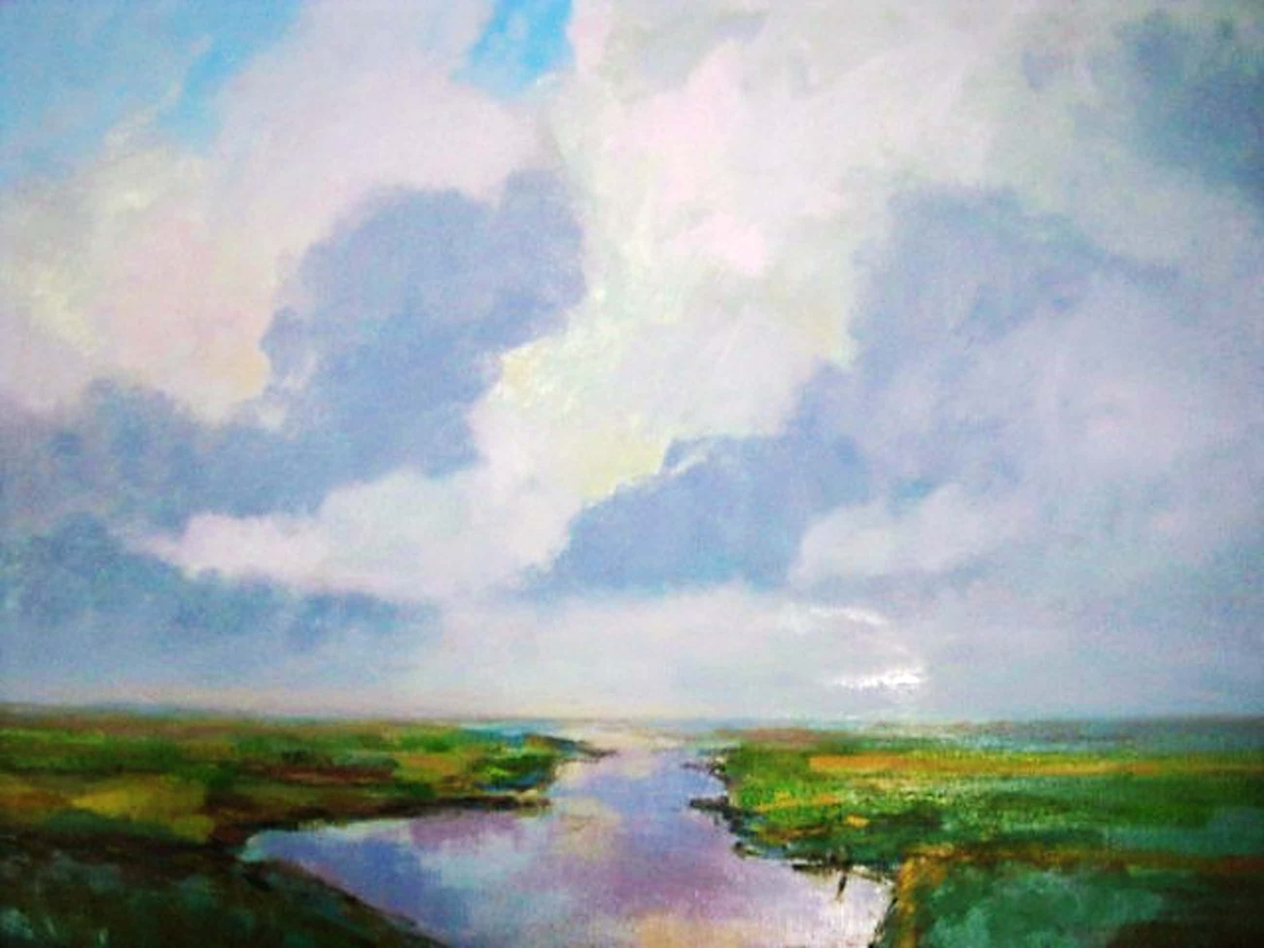"""Hans Schiereck - Fraai impressionistisch olieverf """"Waterland bij invallende zomeravond"""" gesignee  kopen? Bied vanaf 115!"""