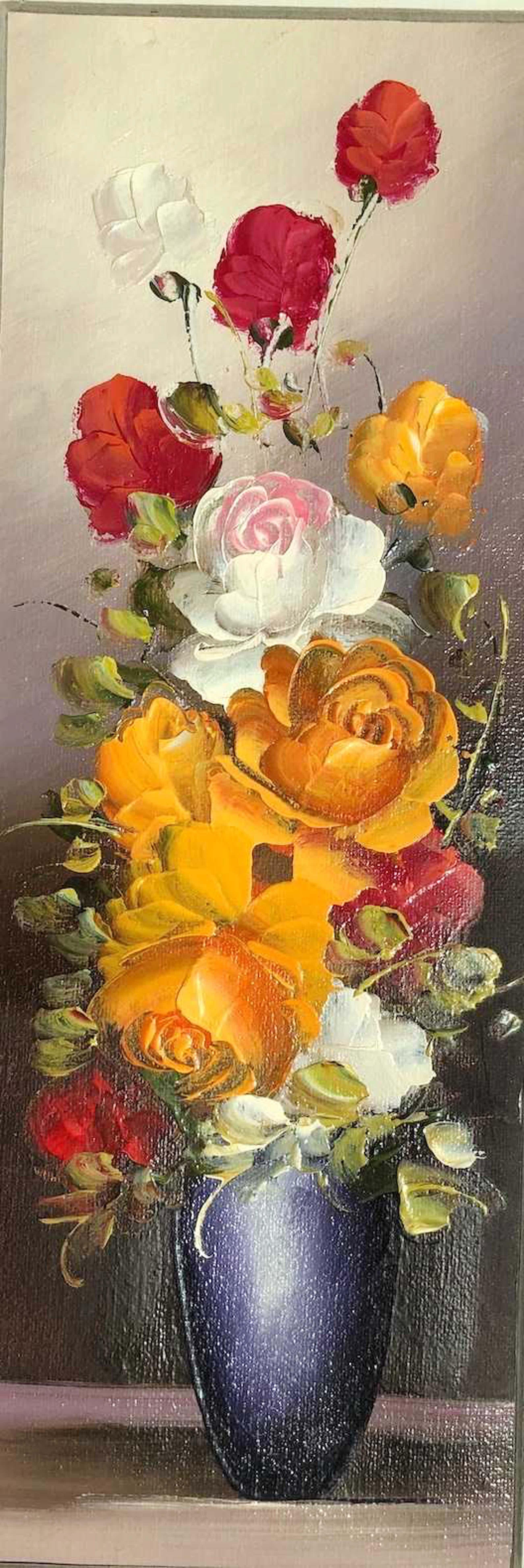 Robert Cox - Oranje bloemen in vaas - Olieverf op doek kopen? Bied vanaf 40!