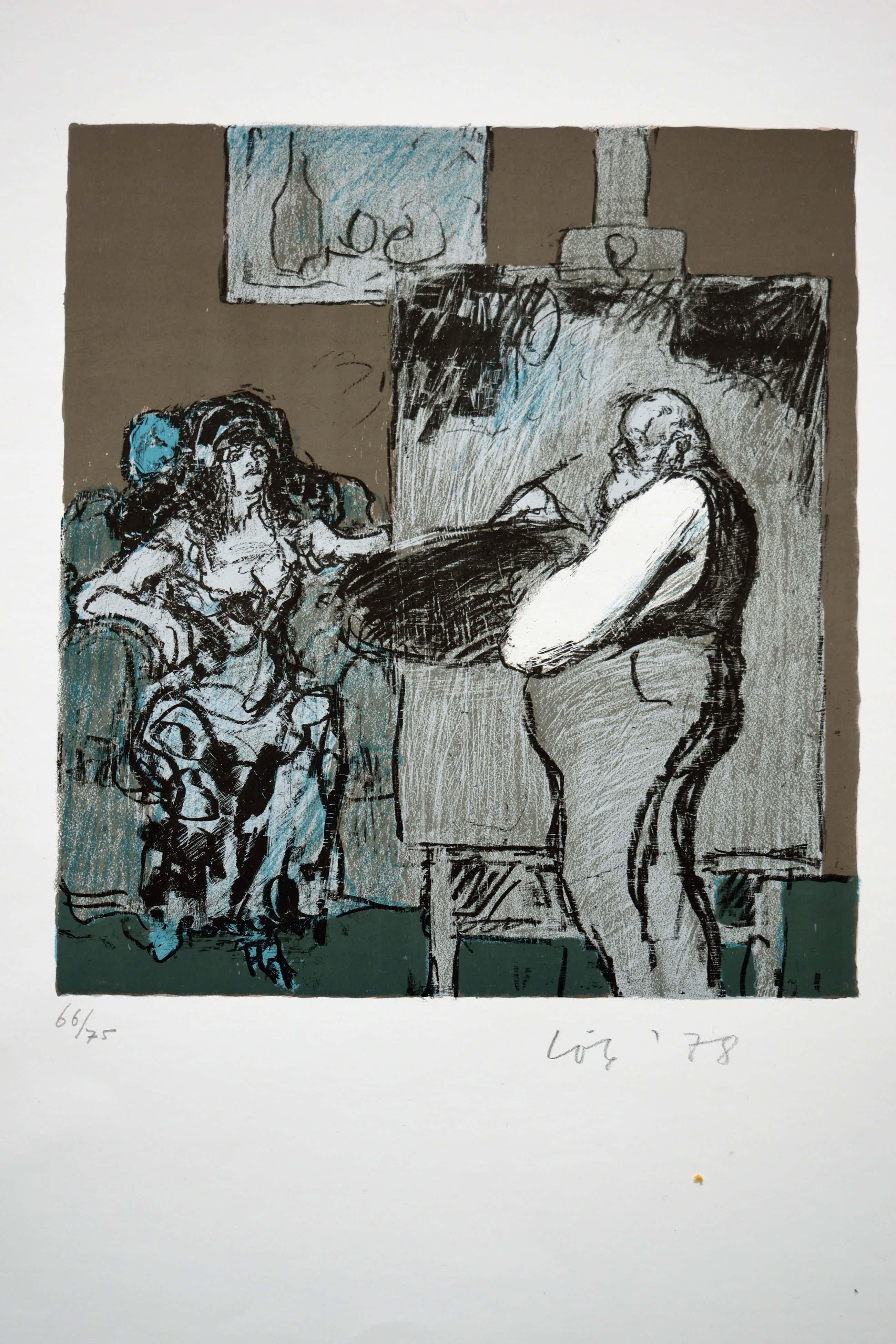 Kurt Lob - Litho - Zelfportret als schilder en zijn model kopen? Bied vanaf 75!