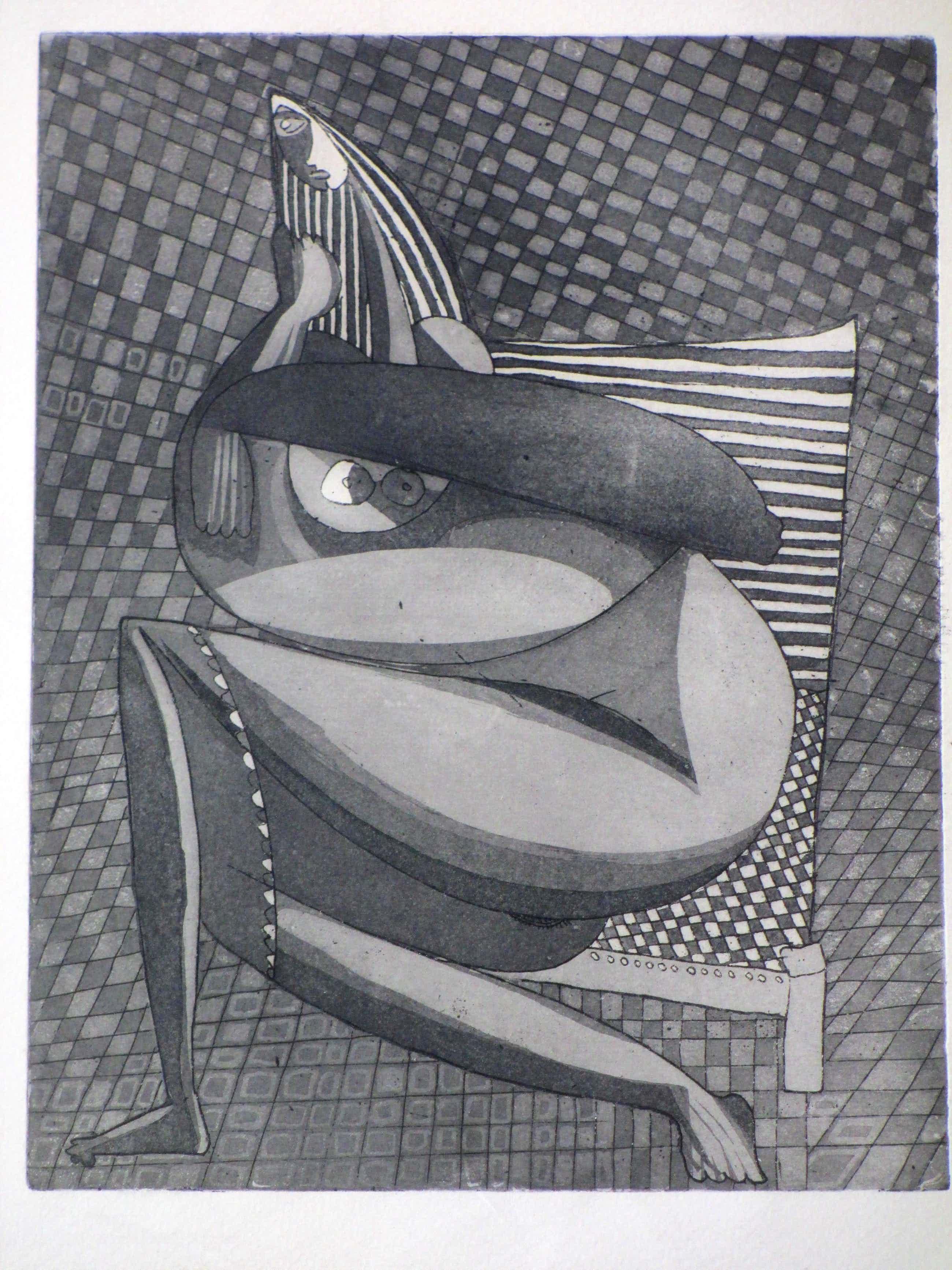 Theo Beerendonk - Kubistisch naakt in stoel - Ets kopen? Bied vanaf 40!