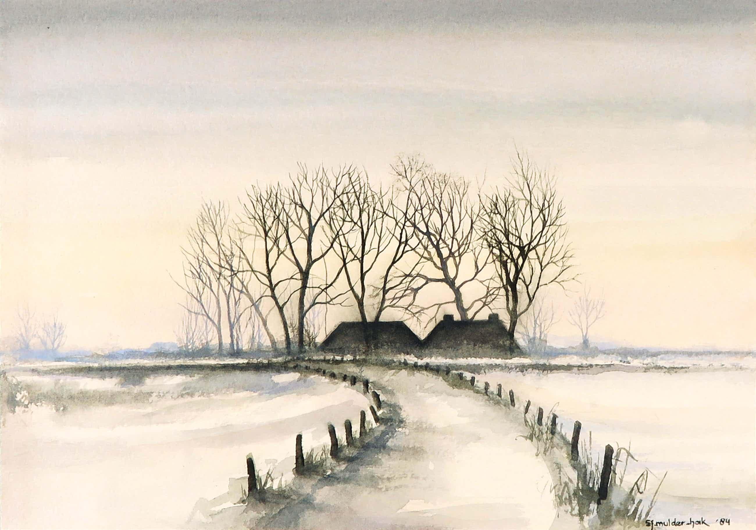 Sjoerdtje Mulder-Hak - Aquarel, IJsseldijk in de winter kopen? Bied vanaf 35!