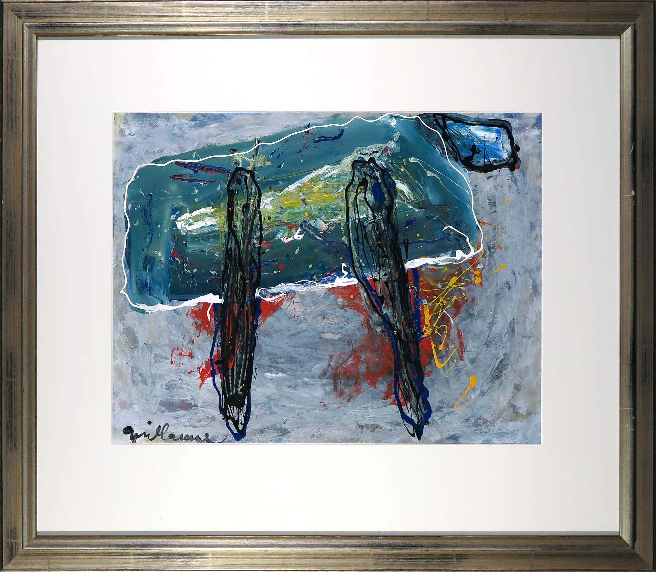 Guillaume Lo-A-Njoe - Olieverf op papier, Abstracte compositie - Ingelijst kopen? Bied vanaf 150!