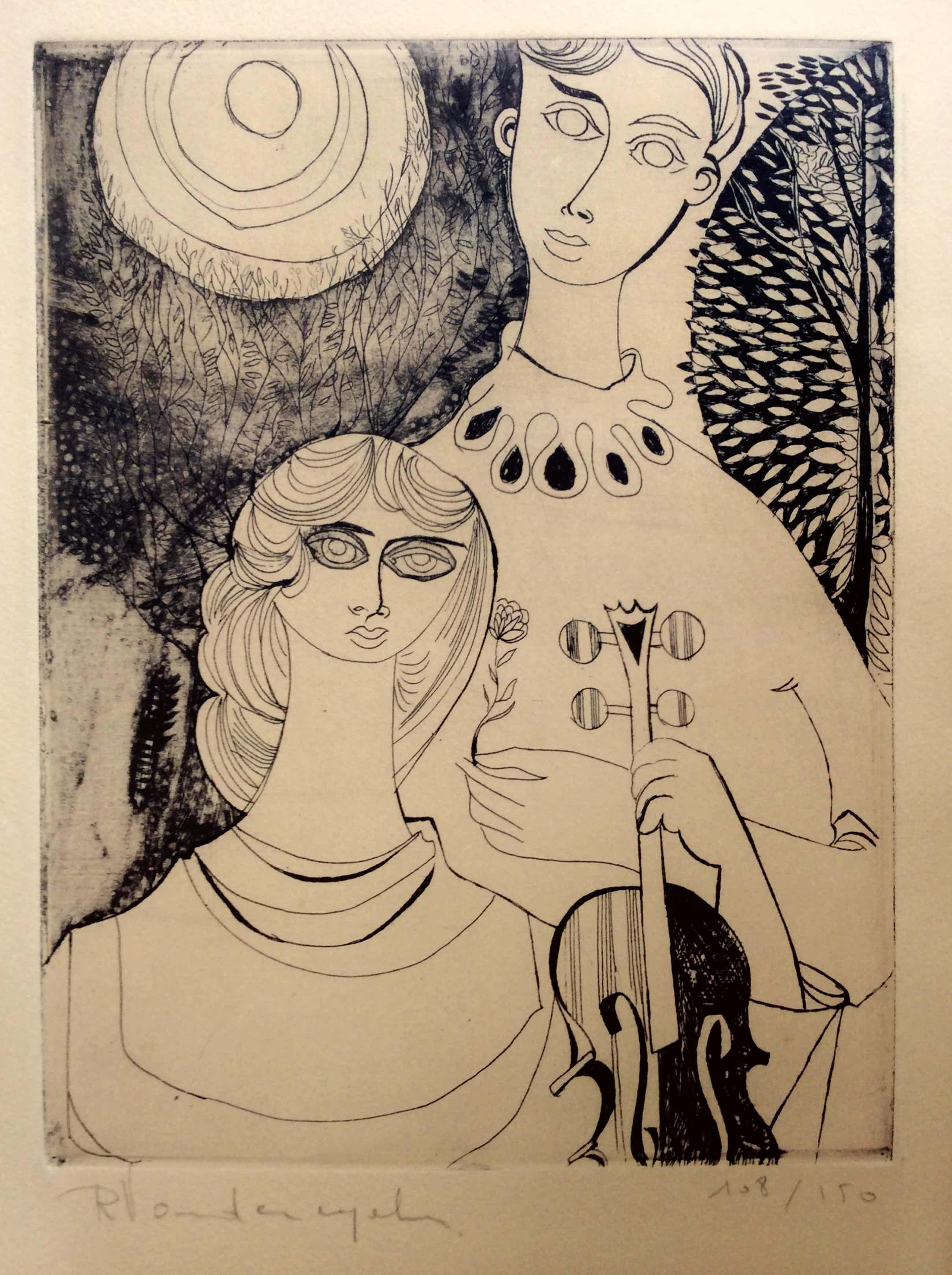 Robert Vandereycken - Jong paar met viool - lithografie, ingelijst kopen? Bied vanaf 50!