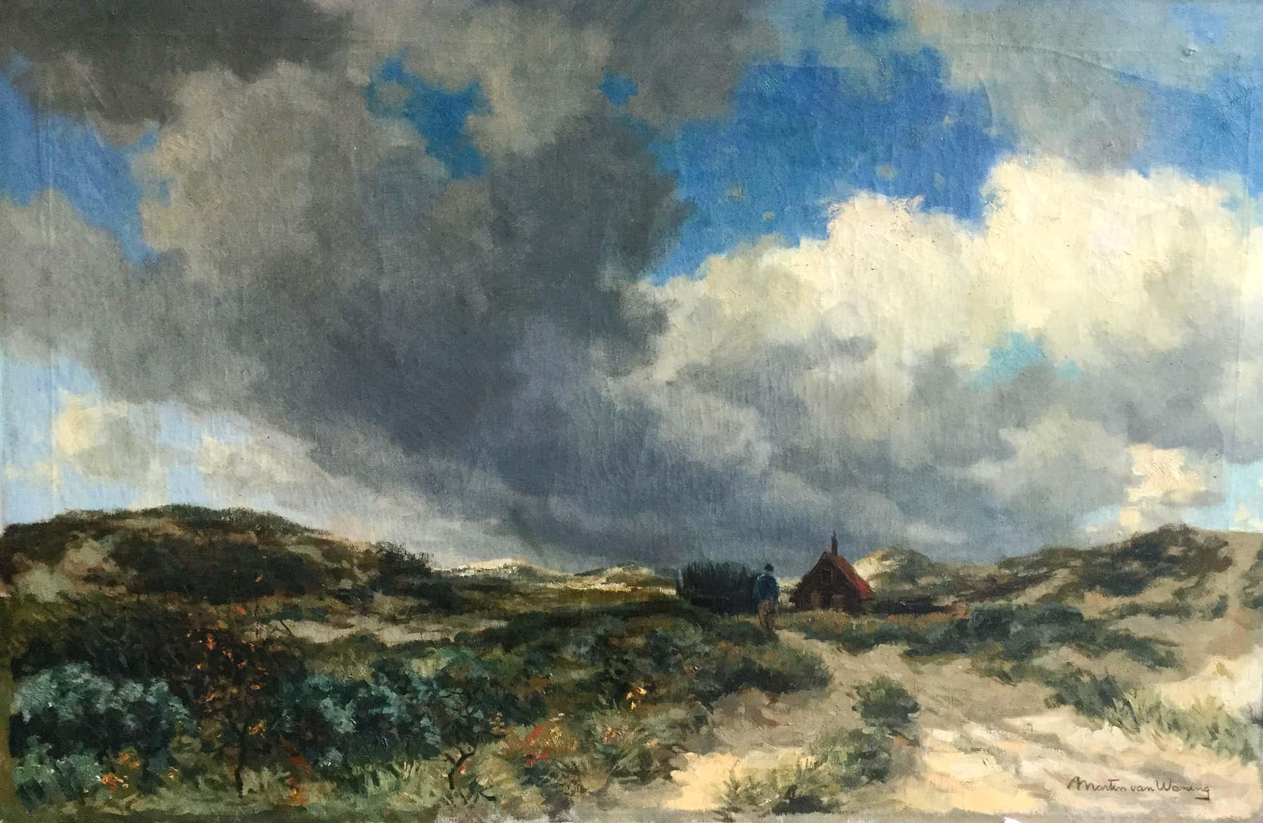 Martin van Waning - C3843-190814, Duinlandschap met wandelaar en huisje kopen? Bied vanaf 450!