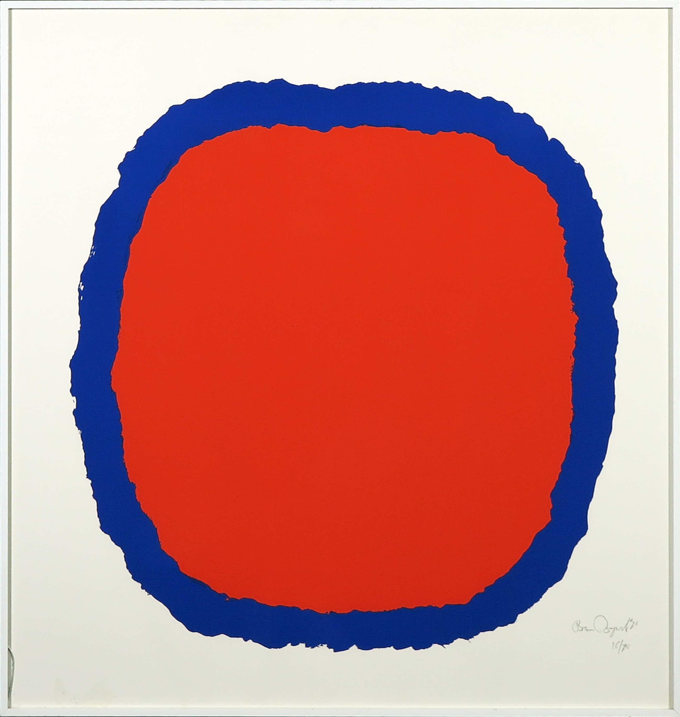Bram Bogart - Zeefdruk, Z.T. Compositie in rood en blauw - Ingelijst kopen? Bied vanaf 180!