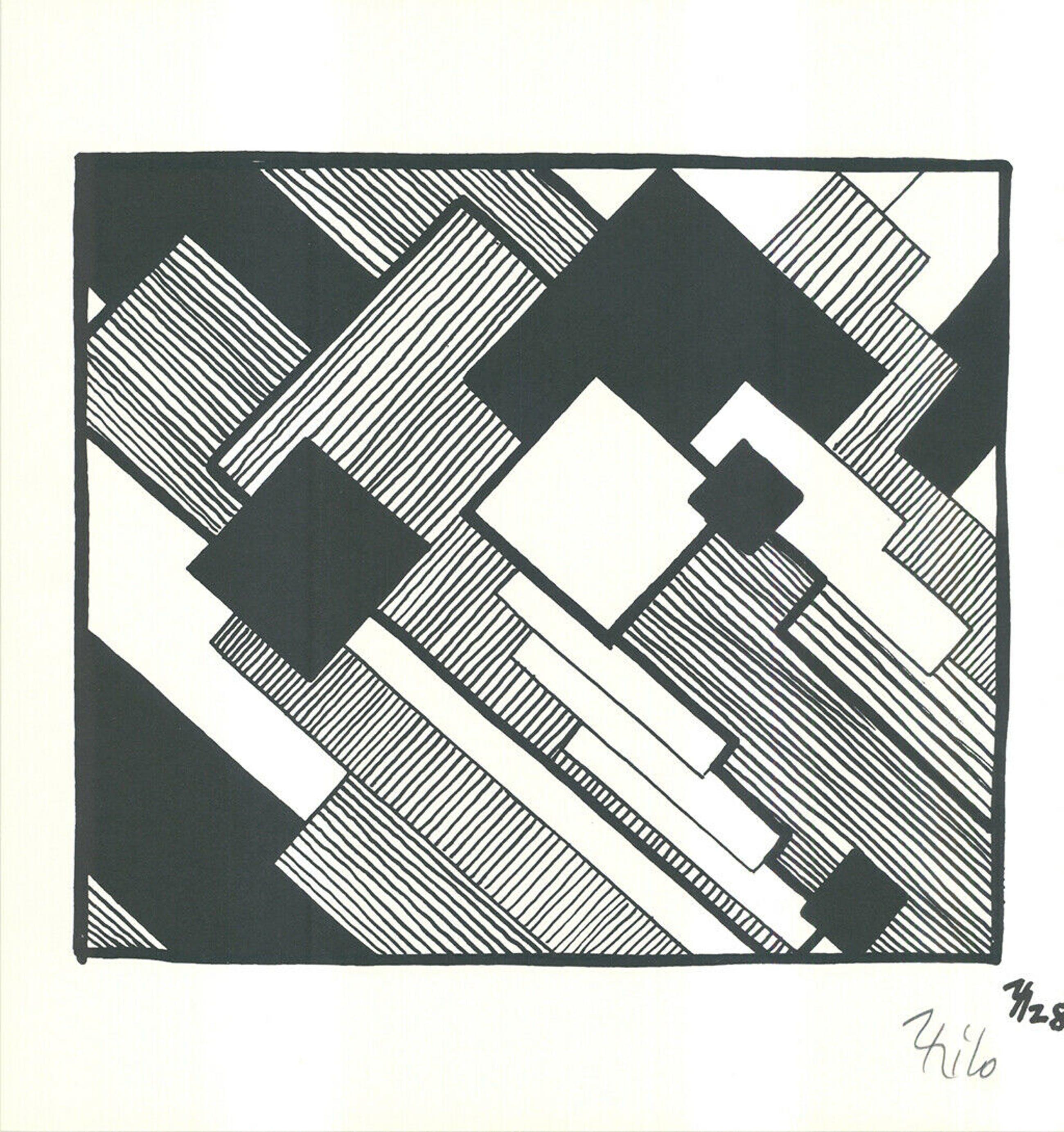 Thilo Maatsch - Handgesigneerde houtsnede: Geometrische Compositie kopen? Bied vanaf 25!