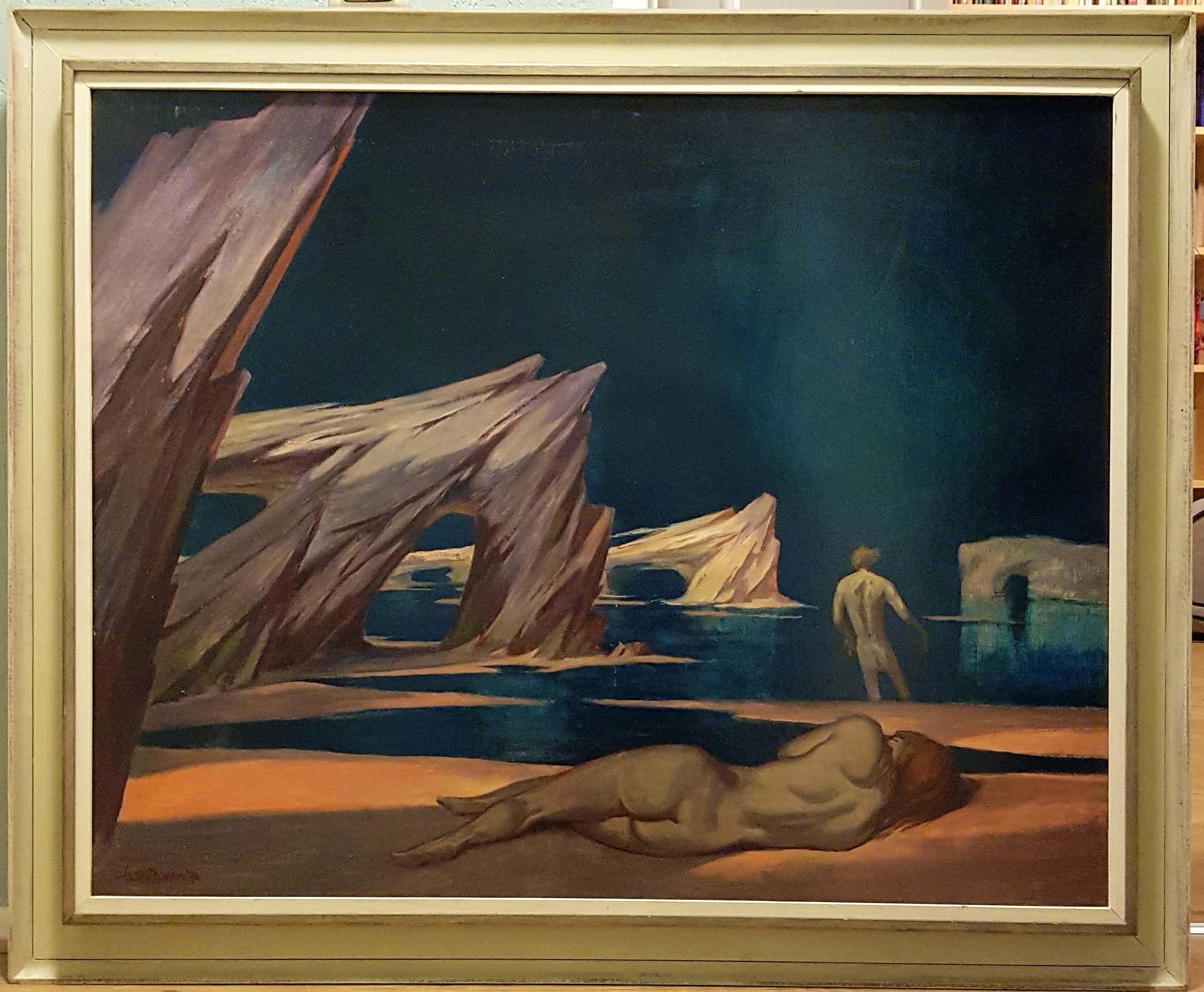 """Klaas Pijlman - Titel: """" Wanhoop"""". Liggend naakt, Salvador Dali achtige stijl. Zeldzaam. kopen? Bied vanaf 160!"""