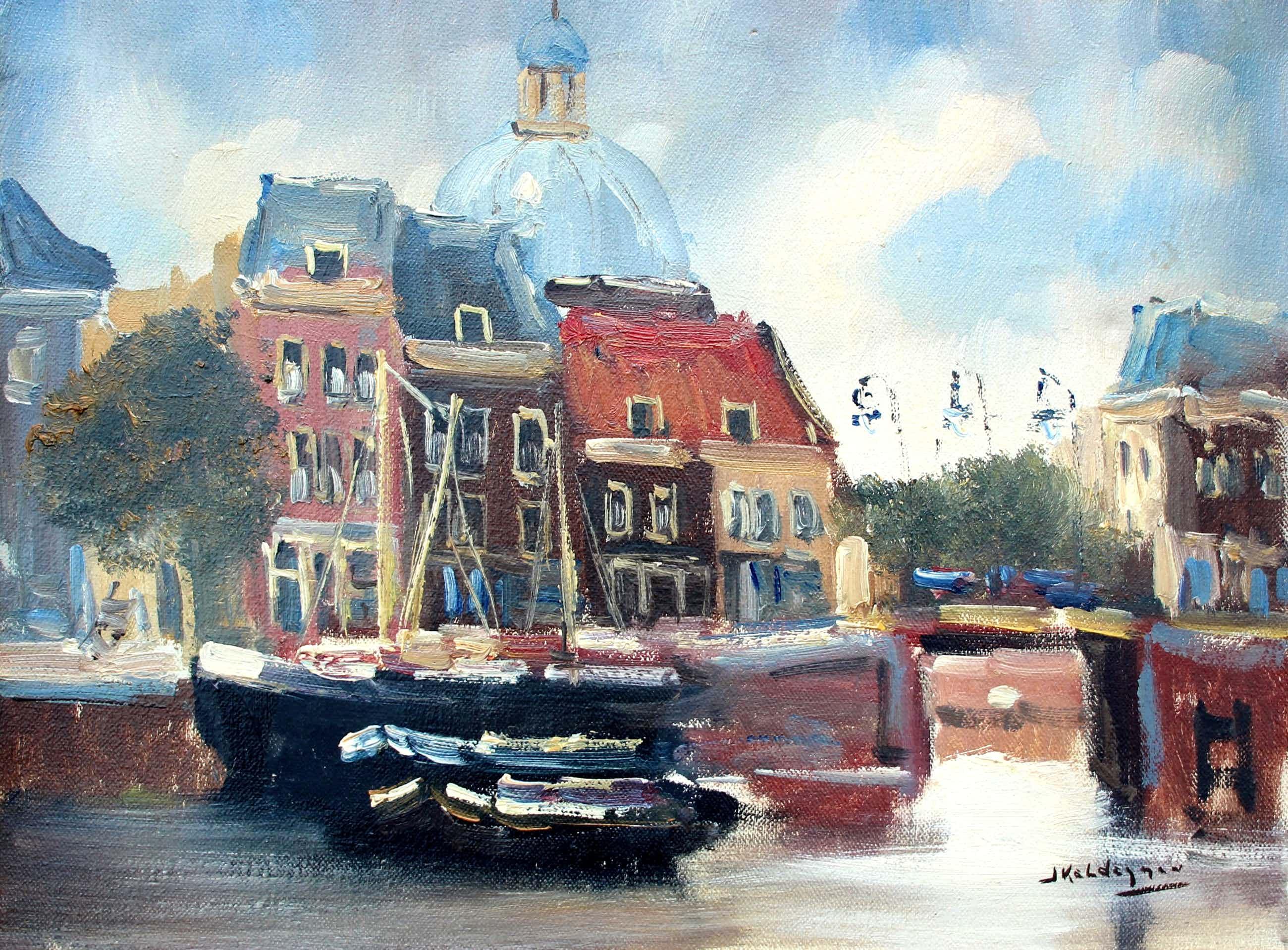 Jan Kelderman - olieverf op doek: Amsterdam (Lutherse kerk) kopen? Bied vanaf 100!