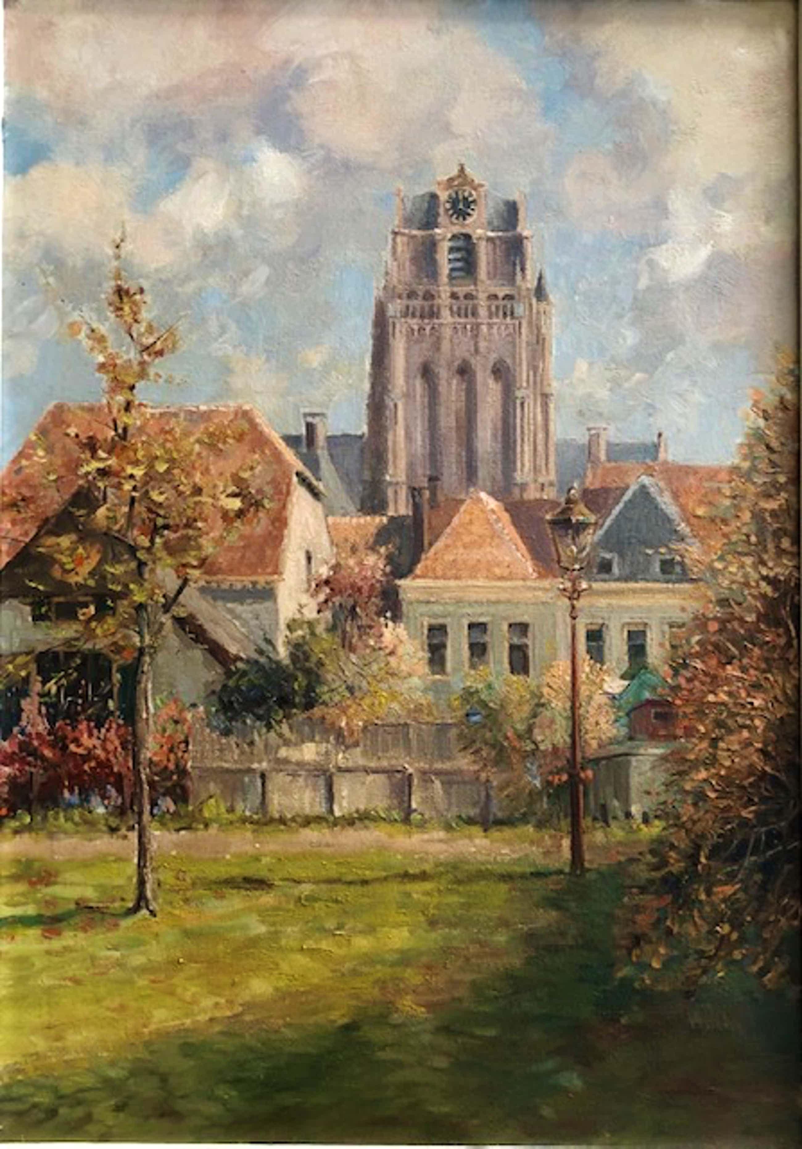 Wim van den Anker - Stadsgezicht Wijk bi Duurstede met Grote Kerk - Olieverf kopen? Bied vanaf 175!