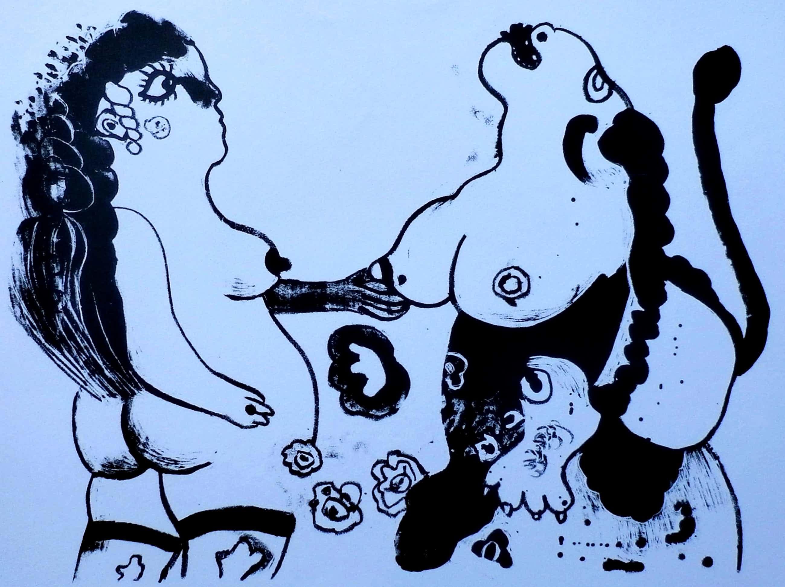 Ed Dukkers - litho: Sfinx en meisje - 1968 kopen? Bied vanaf 45!