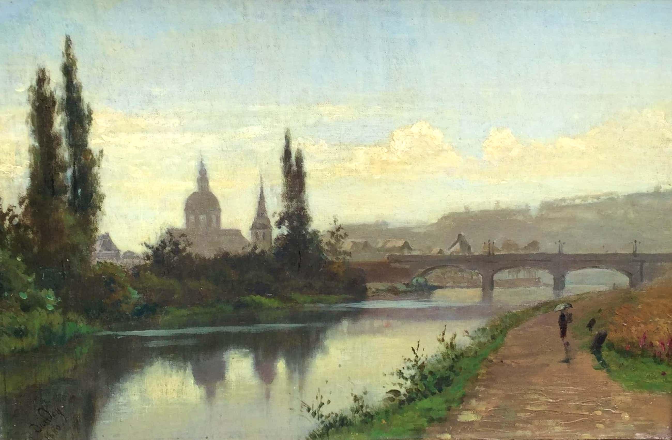 Auguste Dandoy - C4766, Frans stadsgezicht aan rivier kopen? Bied vanaf 450!