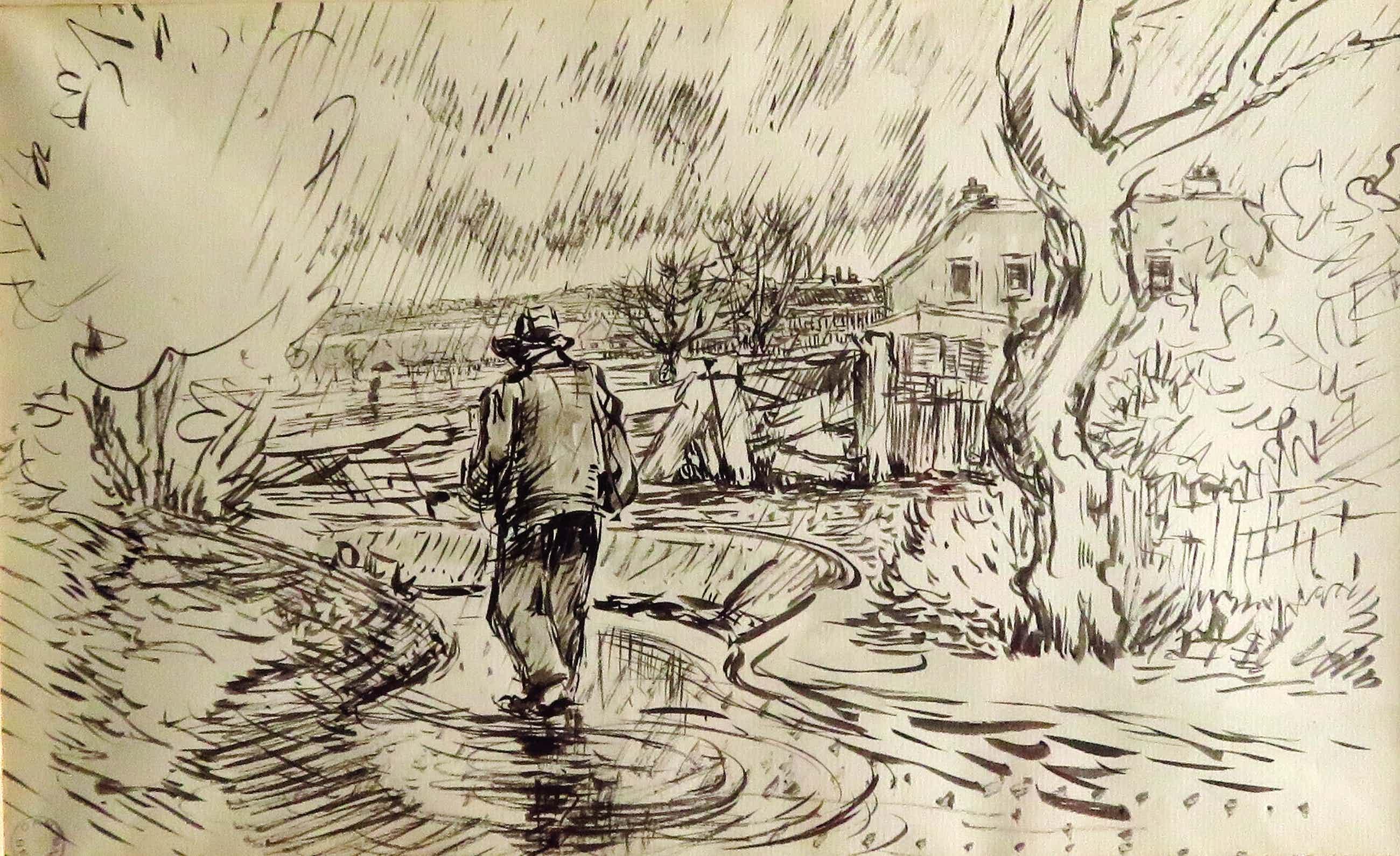 Daniel Wilhelm Bekking - Franse boer in de regen kopen? Bied vanaf 45!