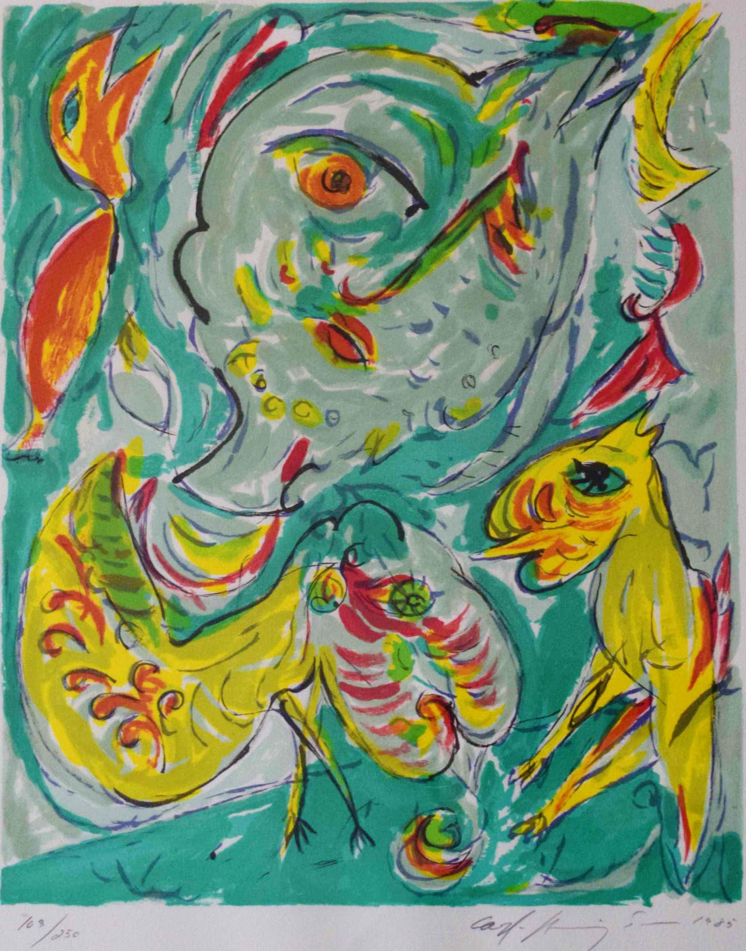 Carl-Henning Pedersen - Litho - Compositie met figuren 3 - 1985 kopen? Bied vanaf 350!