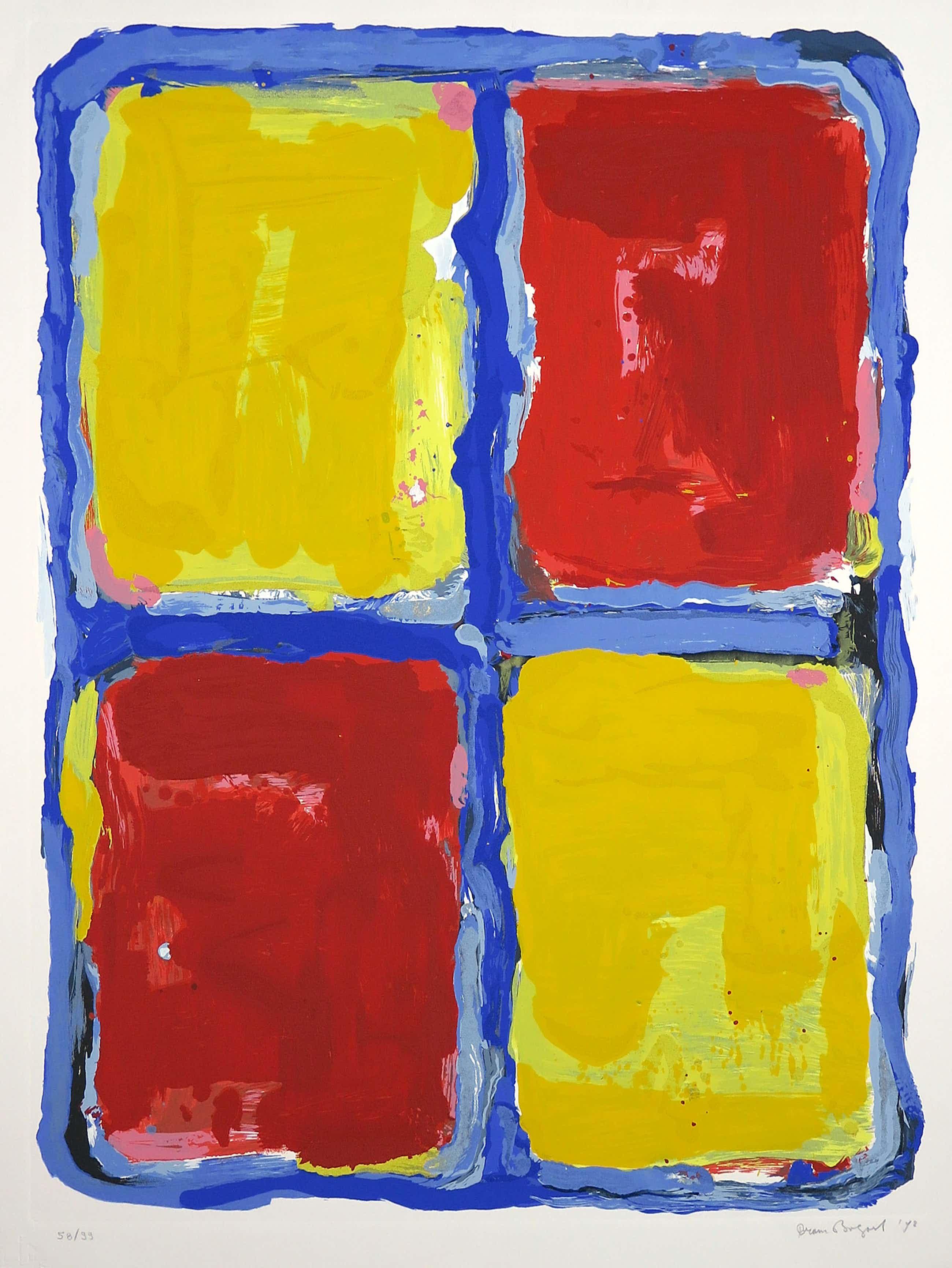 Bram Bogart - Litho en materiedruk, Abstracte compositie kopen? Bied vanaf 385!