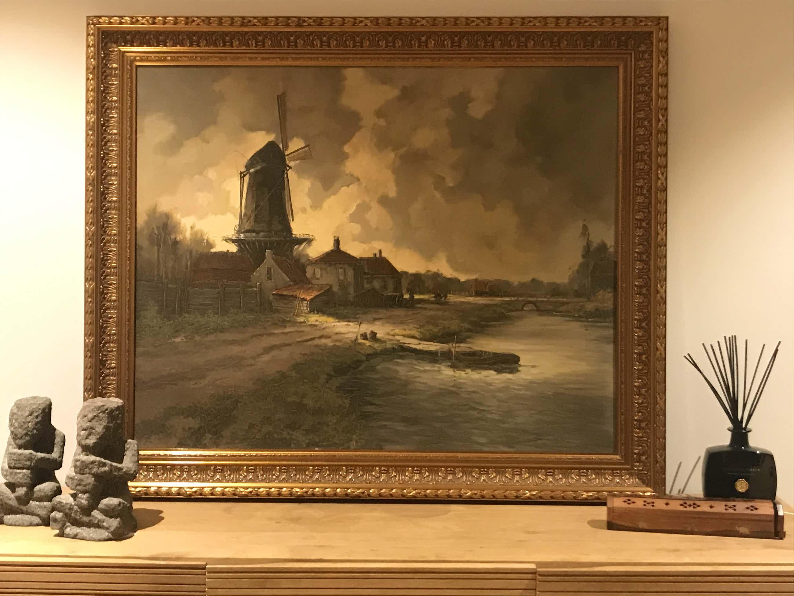 Jos van Dijk - Rivier landschap met molen kopen? Bied vanaf 220!