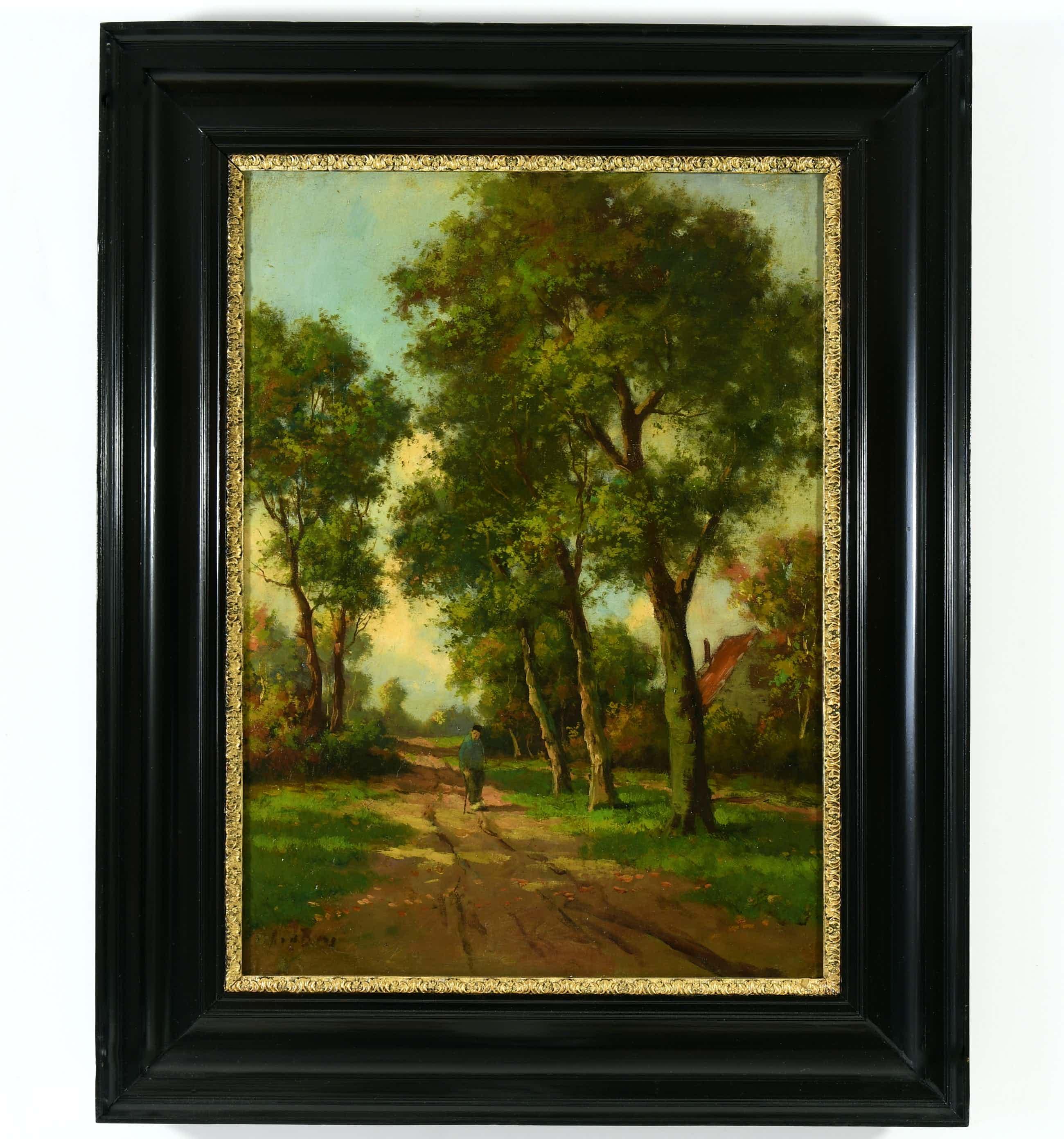 """Andries van den Berg - (1852-1944) - """" Zonnig Hollands landschap - Oude boer op landweg"""". kopen? Bied vanaf 300!"""