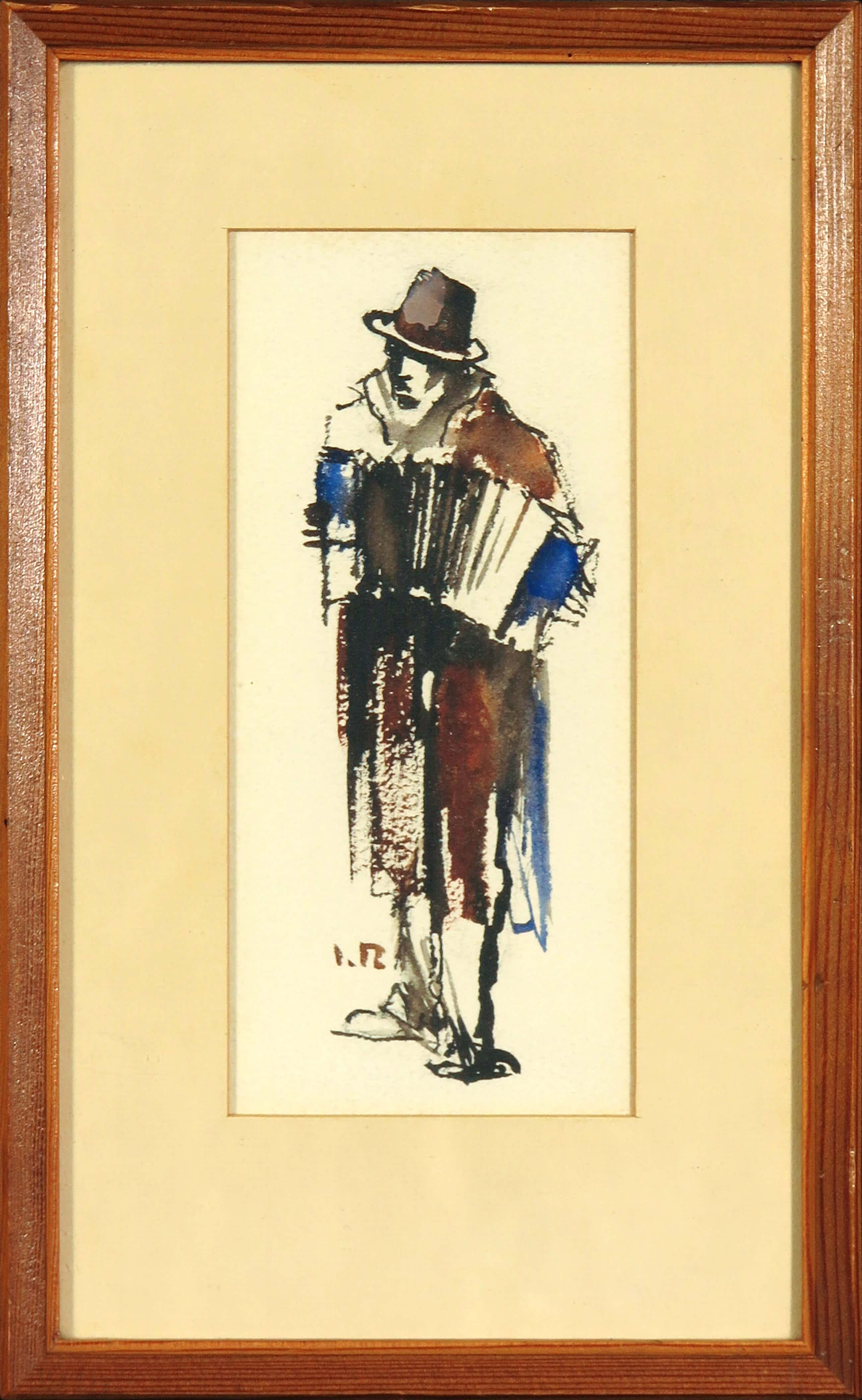 Jan Rijlaarsdam - Inkttekening en aquarel, Man met accordeon - Ingelijst kopen? Bied vanaf 100!