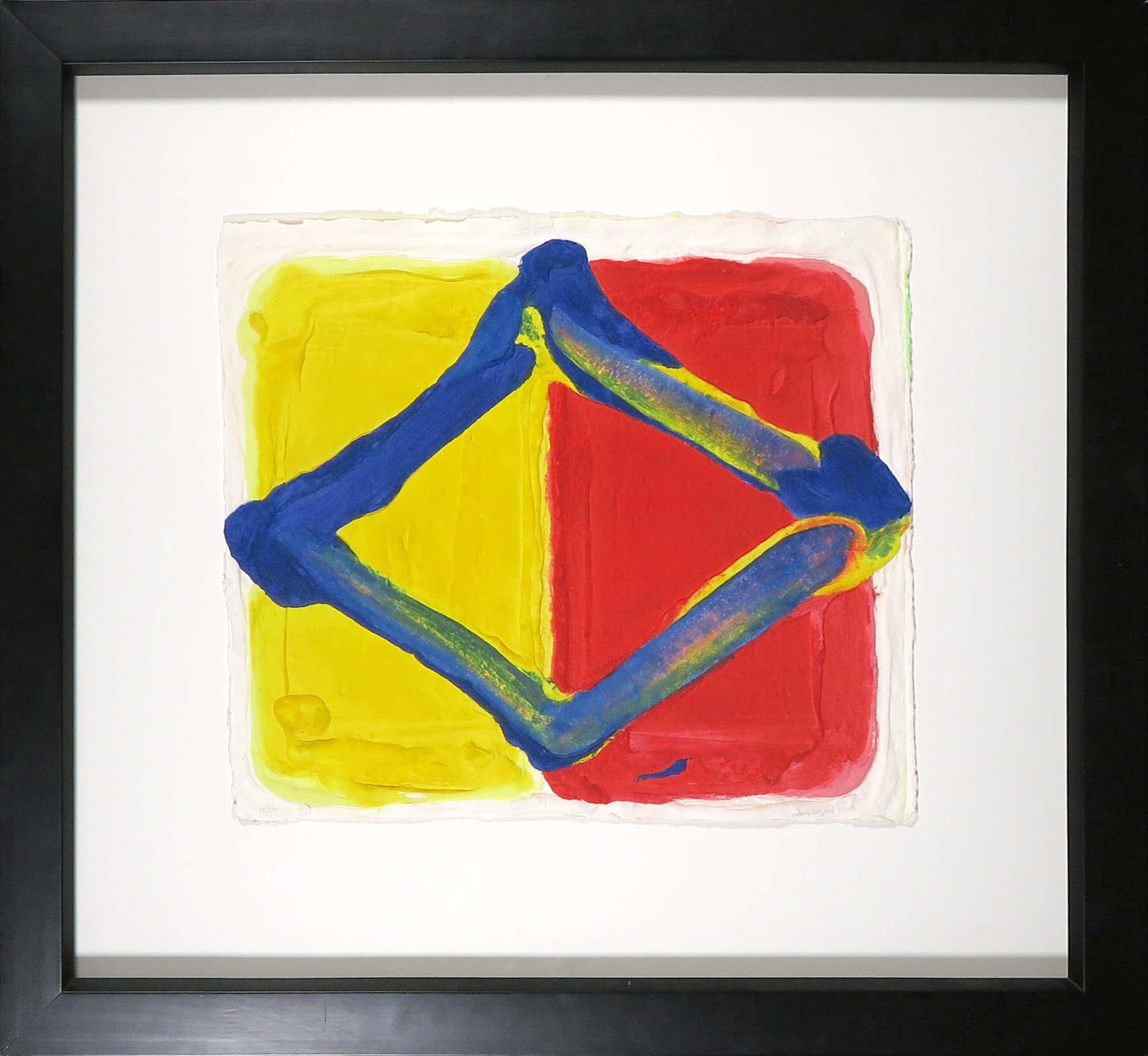 Bram Bogart - Aquagravure op geschept papier, Losange fond rouge/jaune - Ingelijst kopen? Bied vanaf 1350!