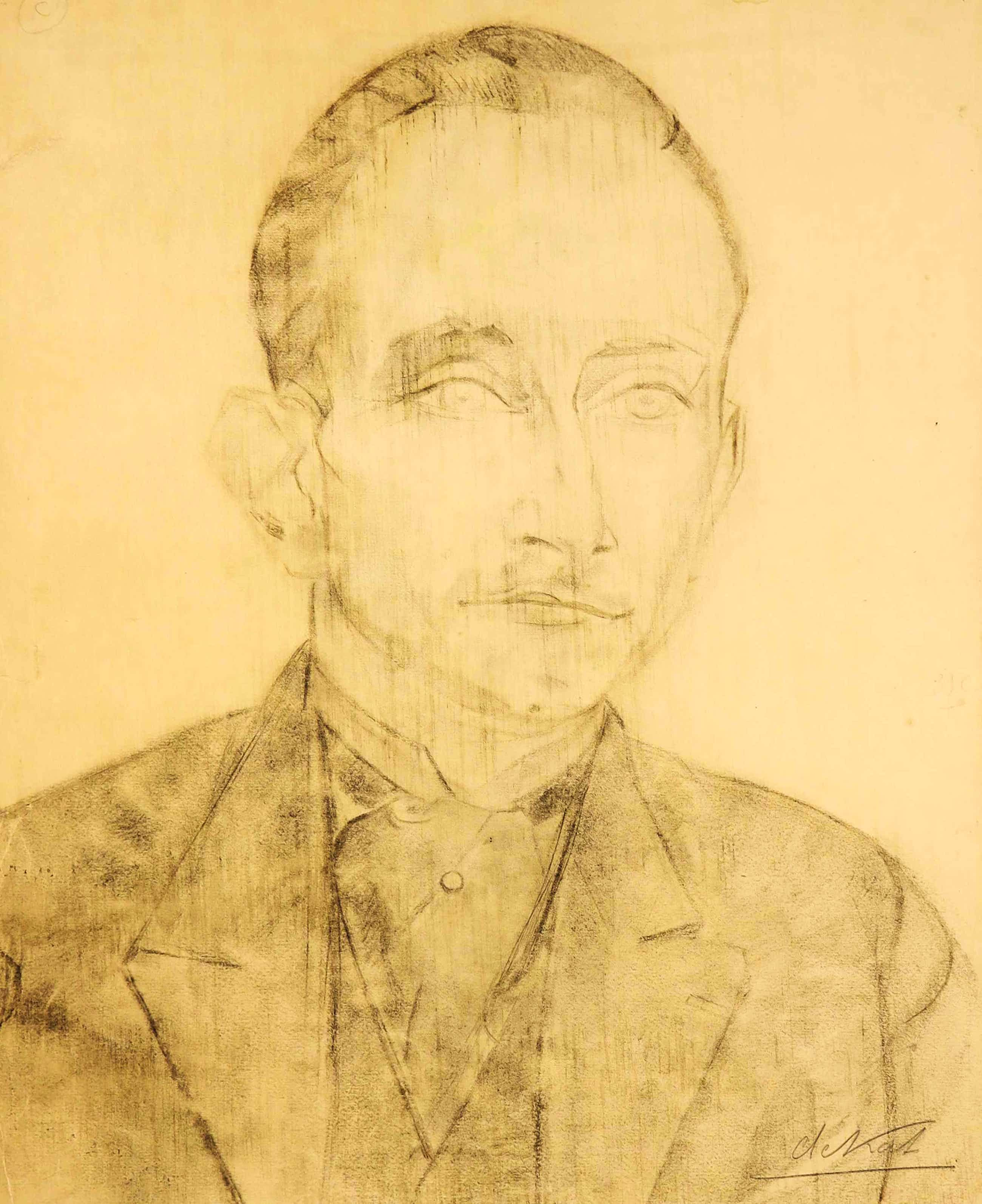 Anne-Pierre De Kat - Houtskooltekening, Portret kopen? Bied vanaf 150!