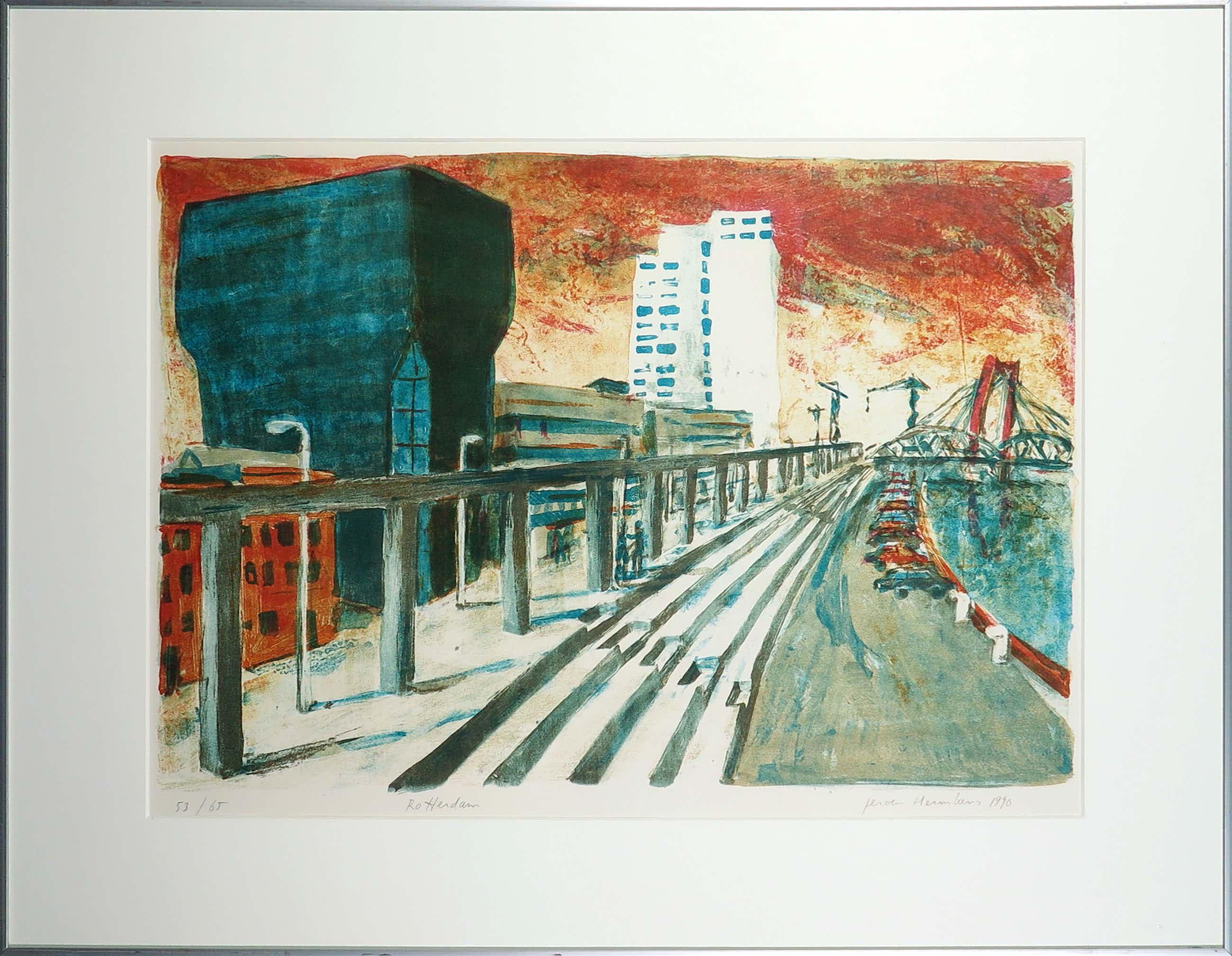 Jeroen Hermkens - Litho, Rotterdam - Ingelijst kopen? Bied vanaf 80!