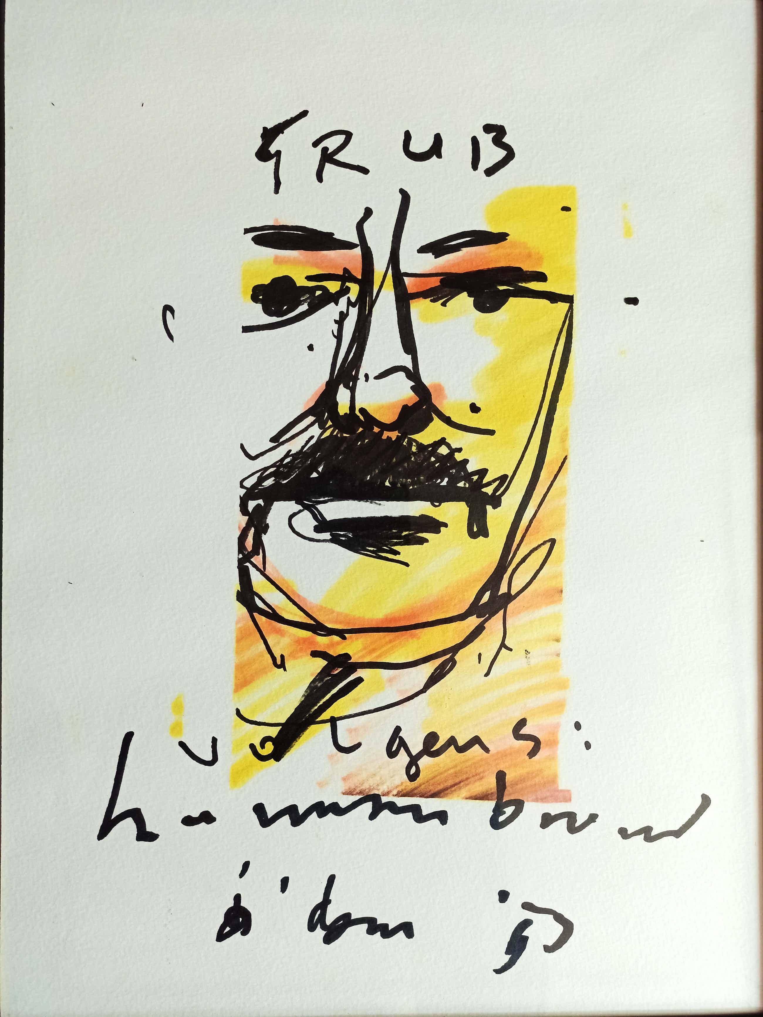 Herman Brood - Man met snor (originele tekening) kopen? Bied vanaf 749!