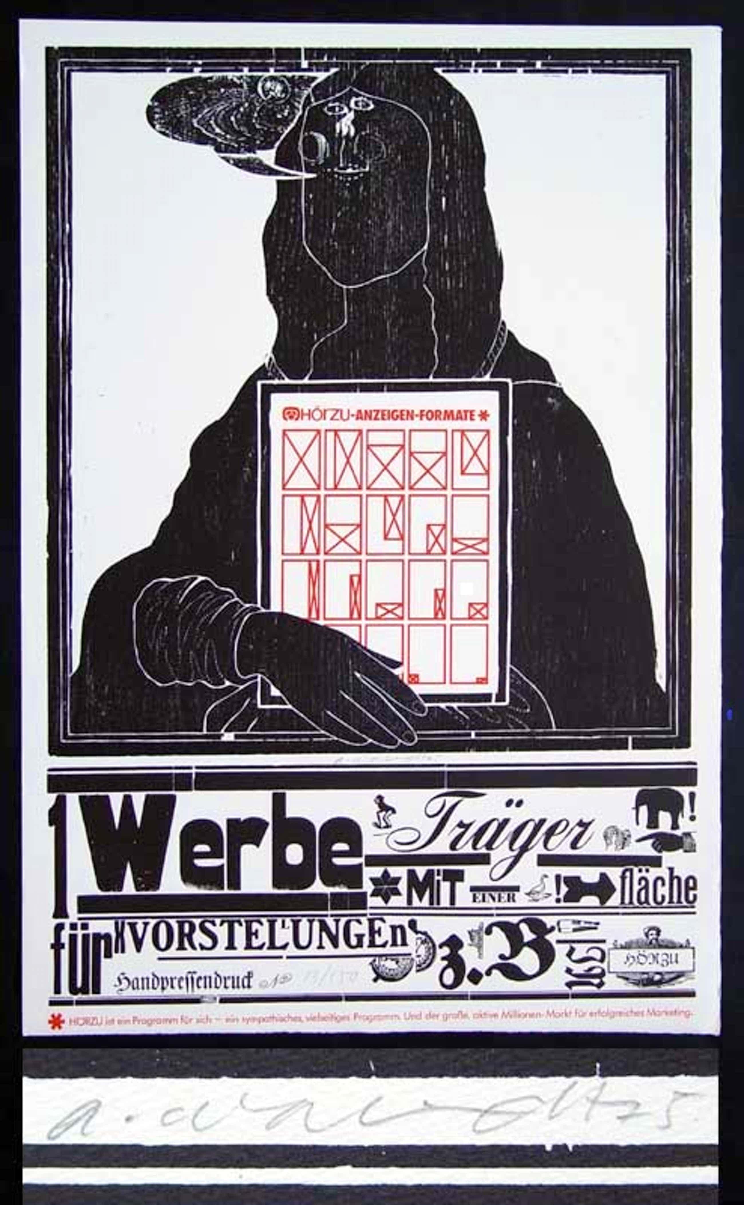 Arno Waldschmidt - -HÖRZU -WERBETRÄGER- Holzschnitt auf Bütten, handsig., datiert, kopen? Bied vanaf 110!
