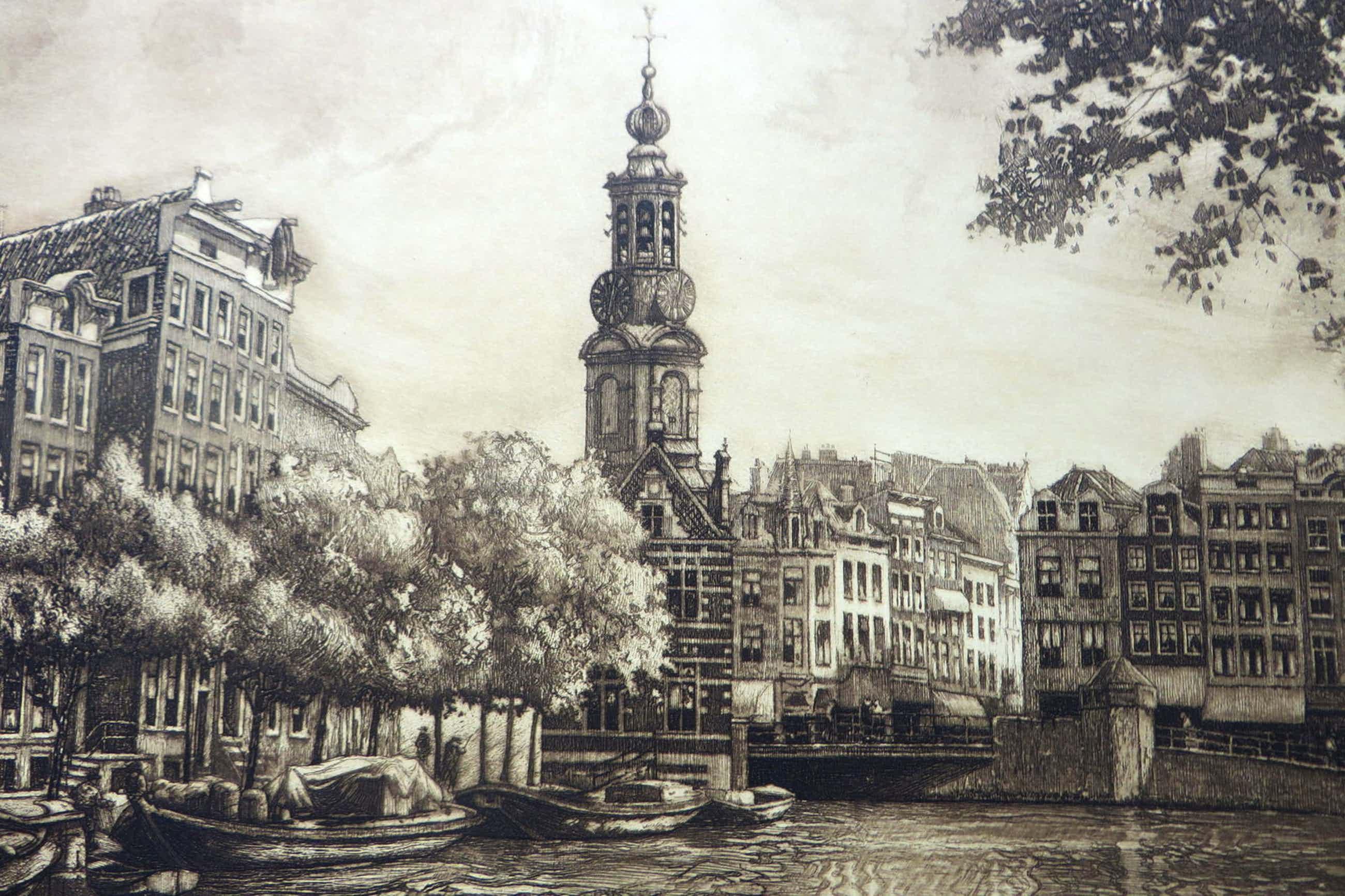 Cornelis Brandenburg - Amsterdams stadsgezicht met Singel,bloemenmarkt en Munttoren kopen? Bied vanaf 110!
