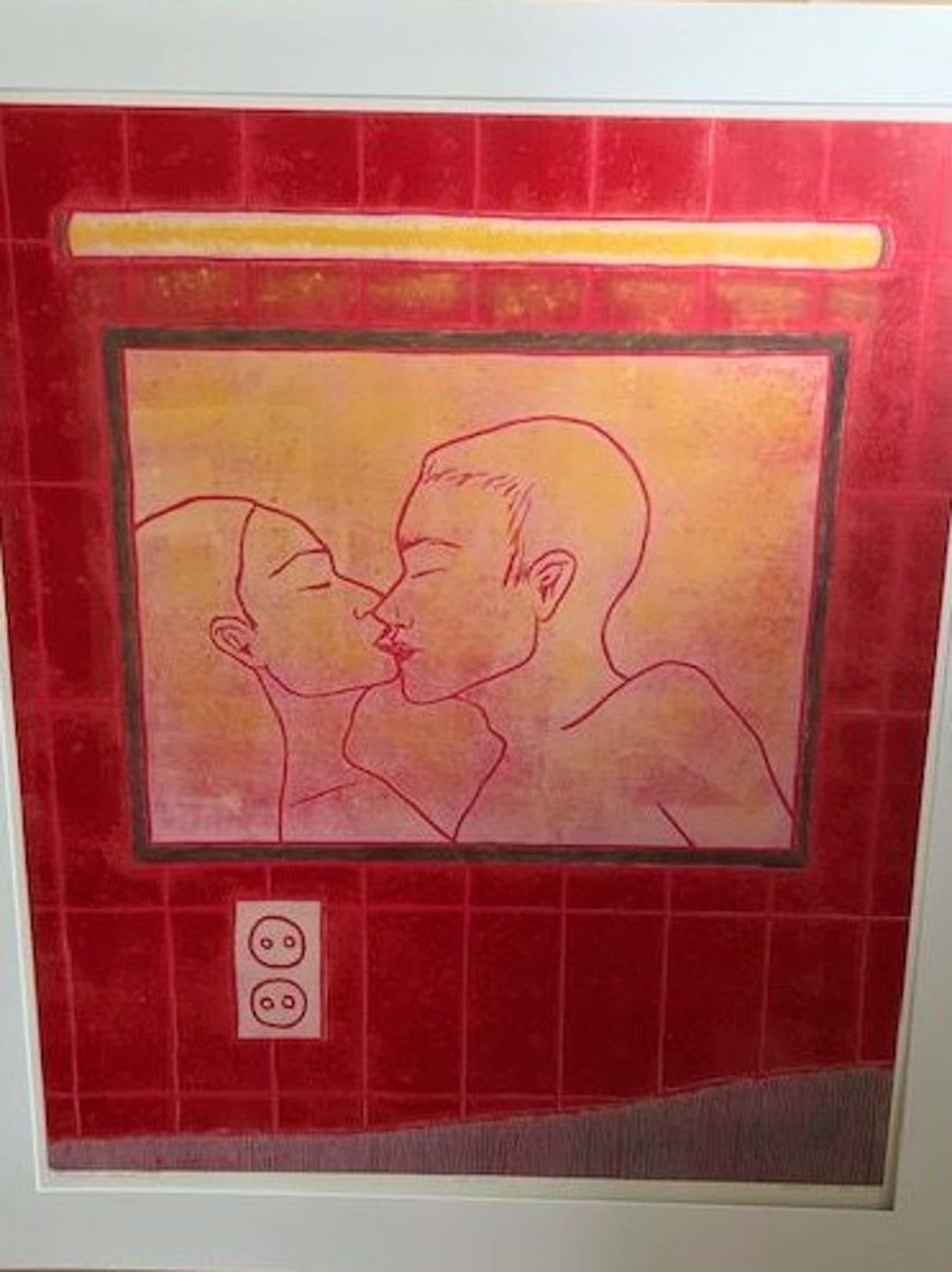 "Raquel Maulwurf - ""De kus""- grote houtsnede - kleine oplage kopen? Bied vanaf 75!"