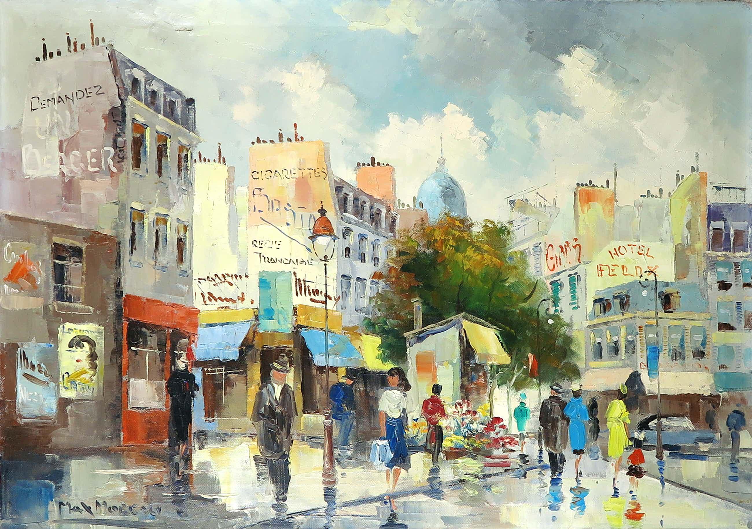 Max Moreau - Olieverf op doek, Stadsgezicht Parijs kopen? Bied vanaf 200!