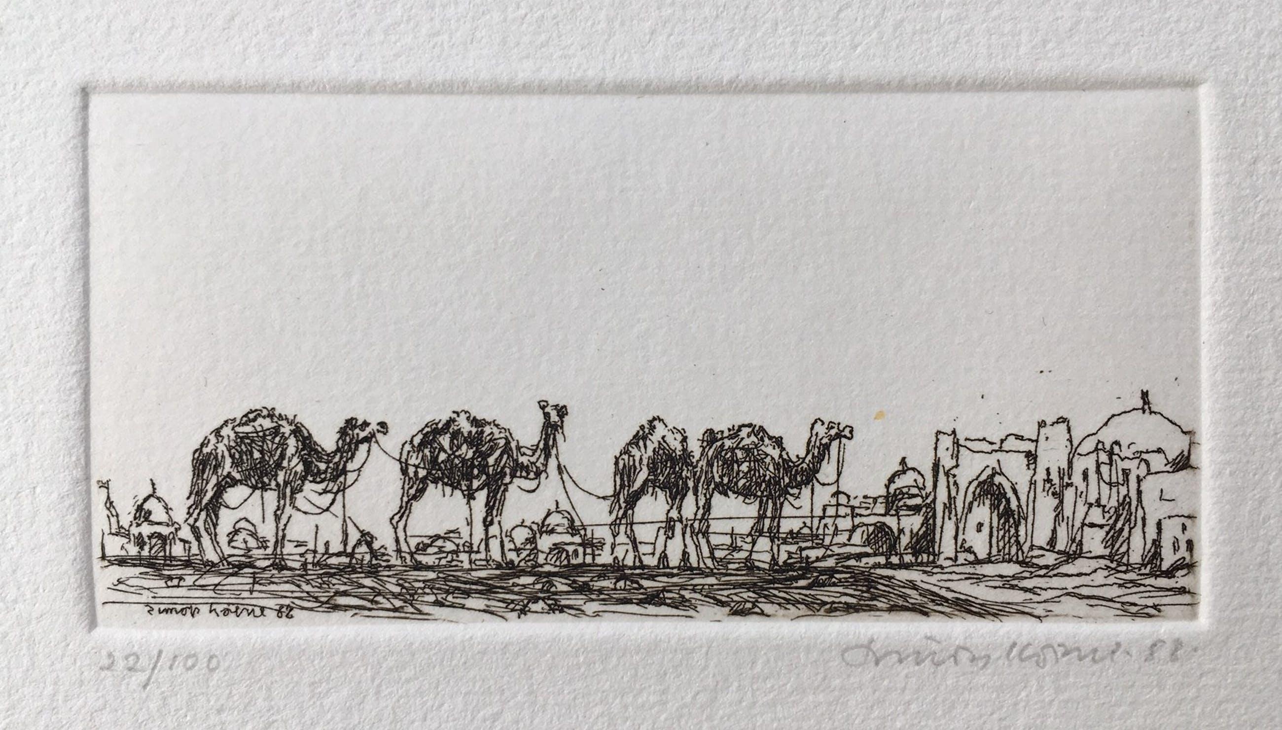 Simon Koene - 4 Kamelen bij oosterse stad kopen? Bied vanaf 15!