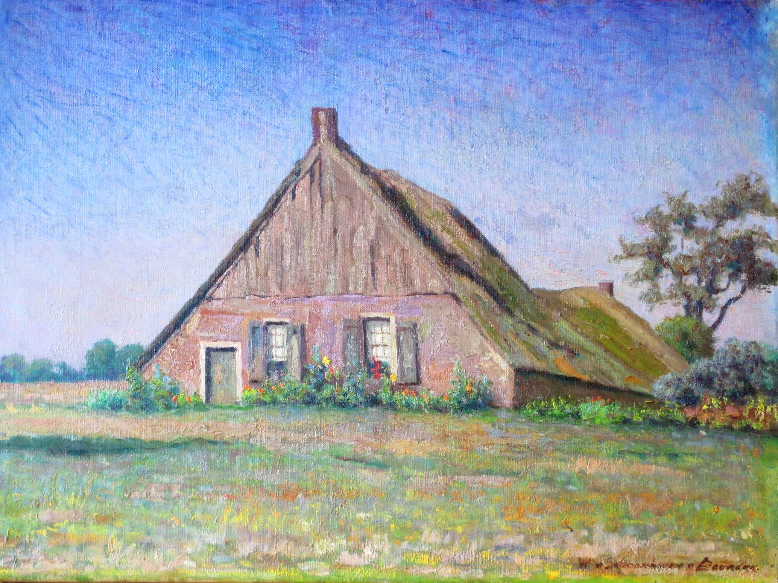 Willy van Schoonhoven van Beurden - Boerderij te Havelte - Olieverf/doek kopen? Bied vanaf 150!