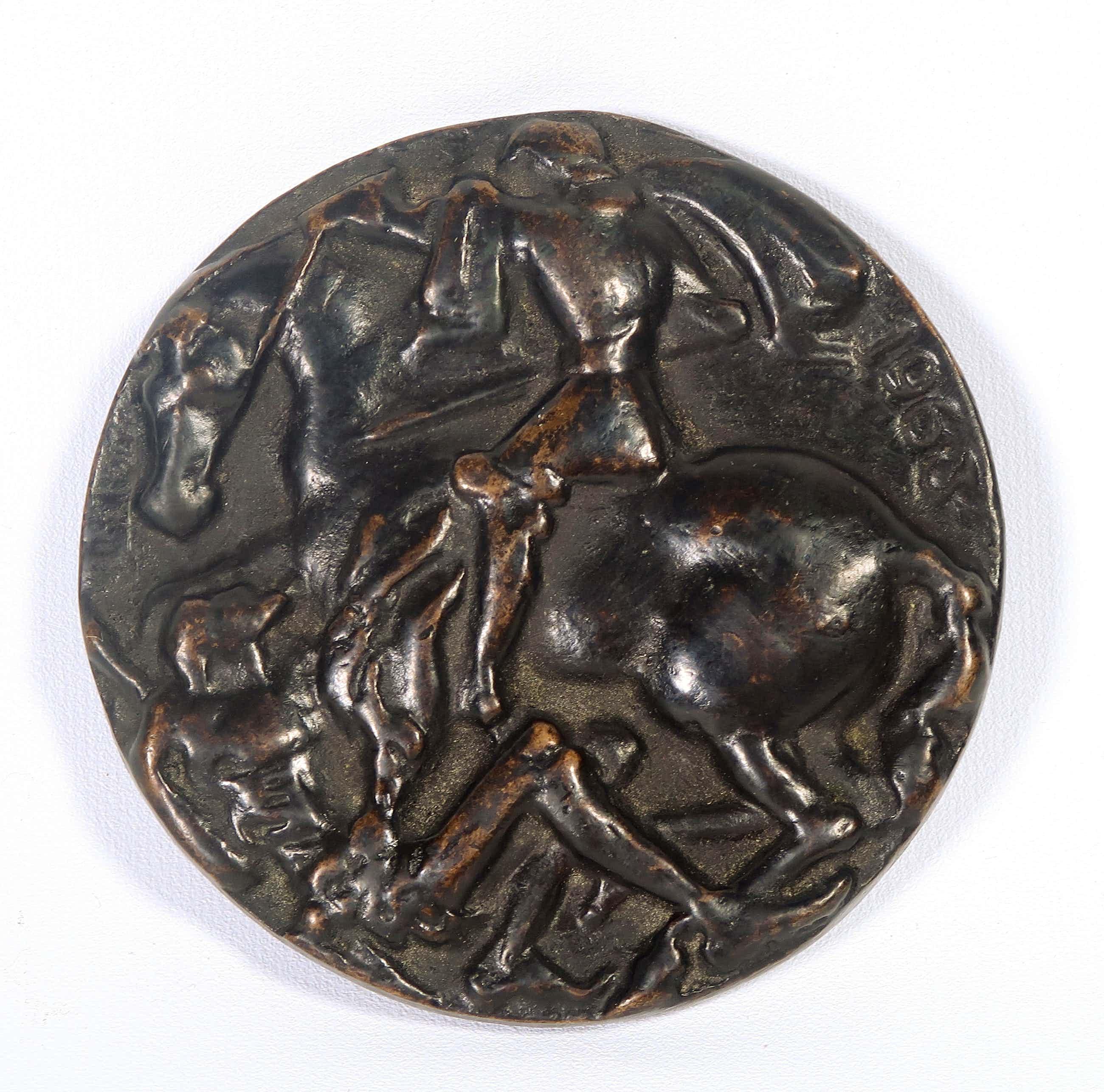 Pieter d' Hont - Bronzen penning Rotary Utrecht, Ruiter te paard kopen? Bied vanaf 80!