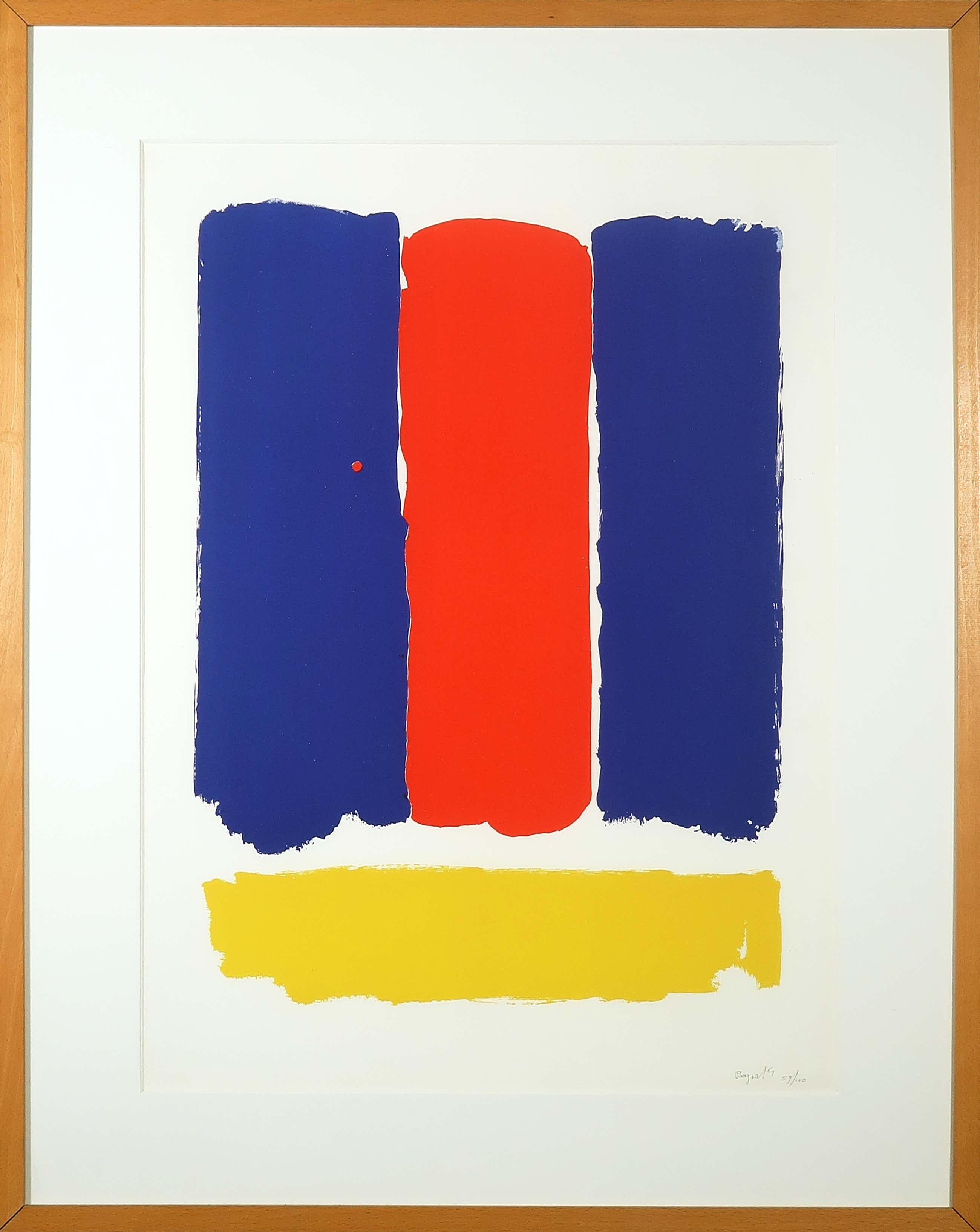 Bram Bogart - Zeefdruk, Z.T. Compositie met rood, geel en blauw - Ingelijst kopen? Bied vanaf 350!