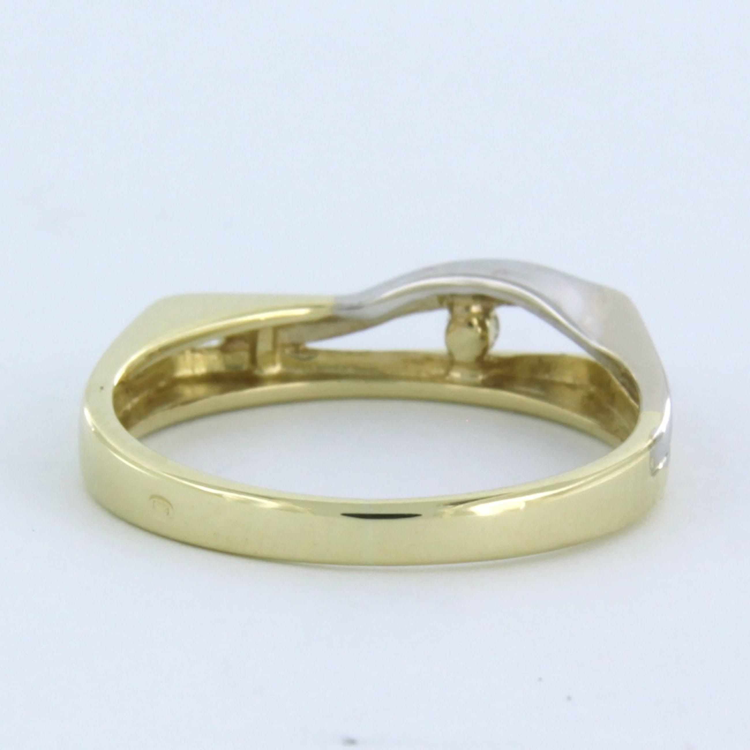 14k bicolour gouden ring bezet met briljant geslepen diamant 0.03ct kopen? Bied vanaf 140!