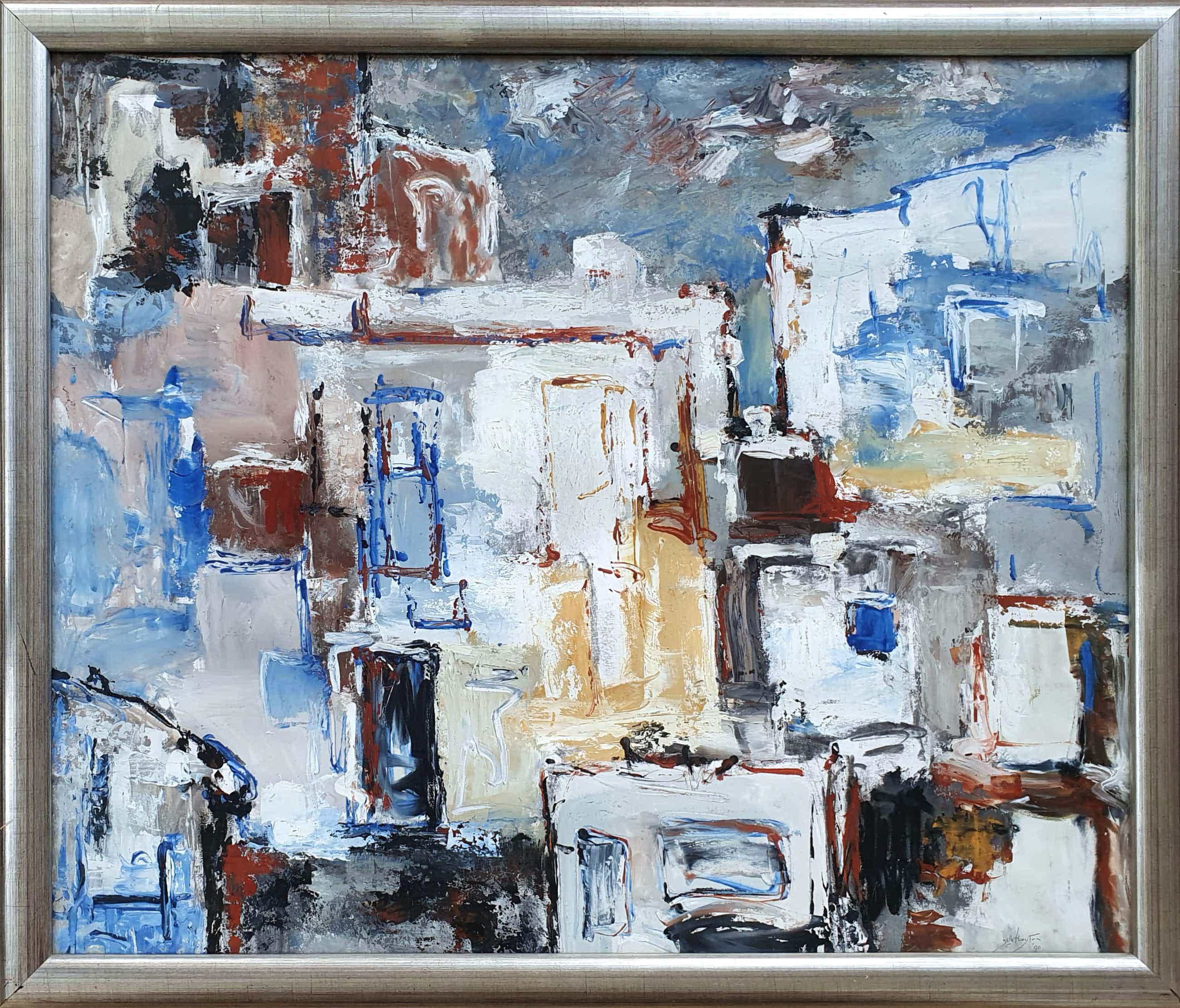 Jelle Hoogstra - Jelle Hoogstra - Abstracte compositie, unica (mooi ingelijst) kopen? Bied vanaf 95!