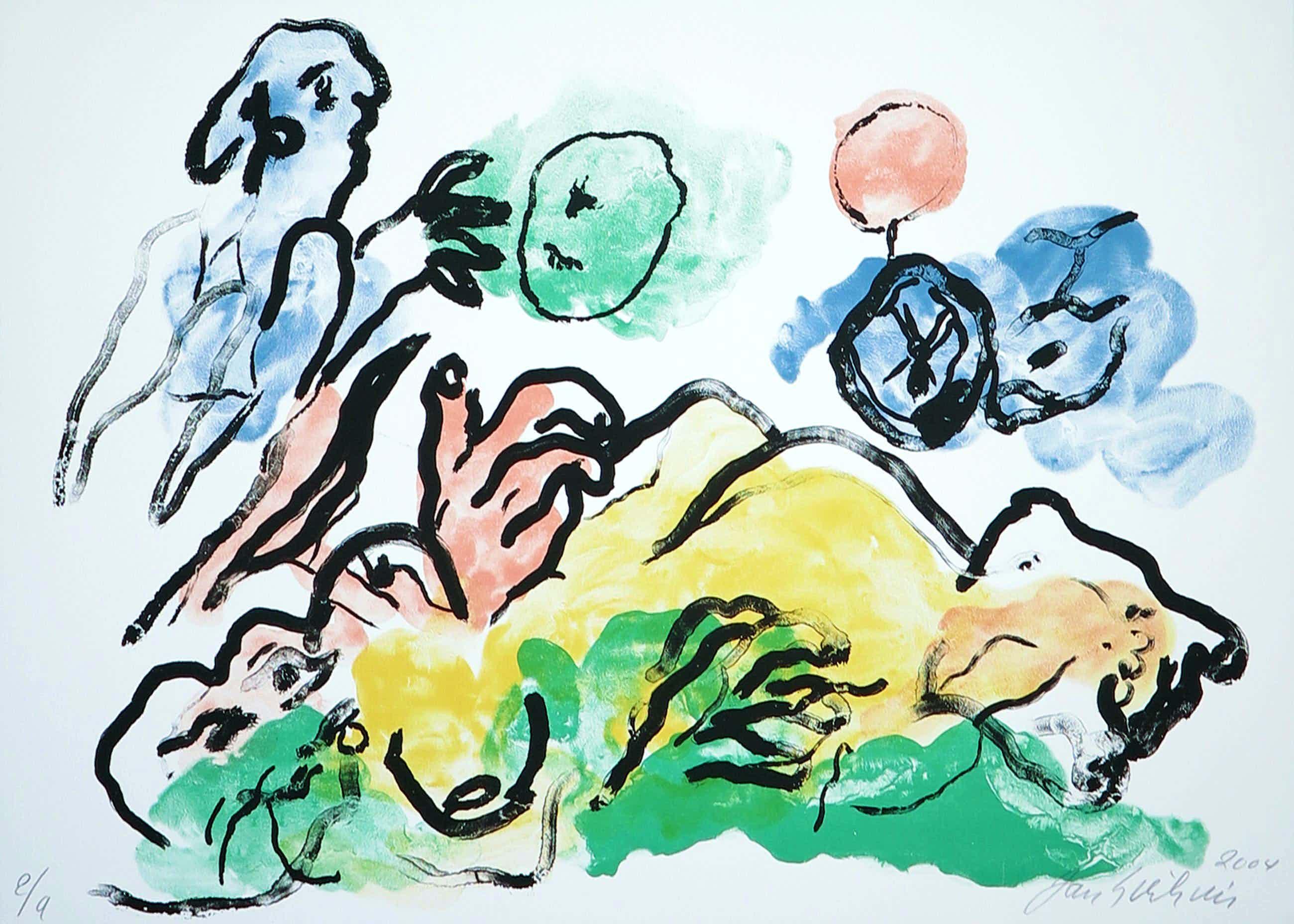 Jan Sierhuis - Moeder en spelend kind - Kleurrijk abstract werk - Kleine oplage - Nieuwstraat! kopen? Bied vanaf 49!
